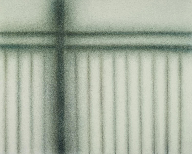 """Andréanne Godin,  Sans titre III (de la série On Our Way To The Boarder) , 2018, pigments secs (Bleu Prusse, brun Ochre et brun Van Dyke, 30 x 38 cm (12"""" x 15"""")"""