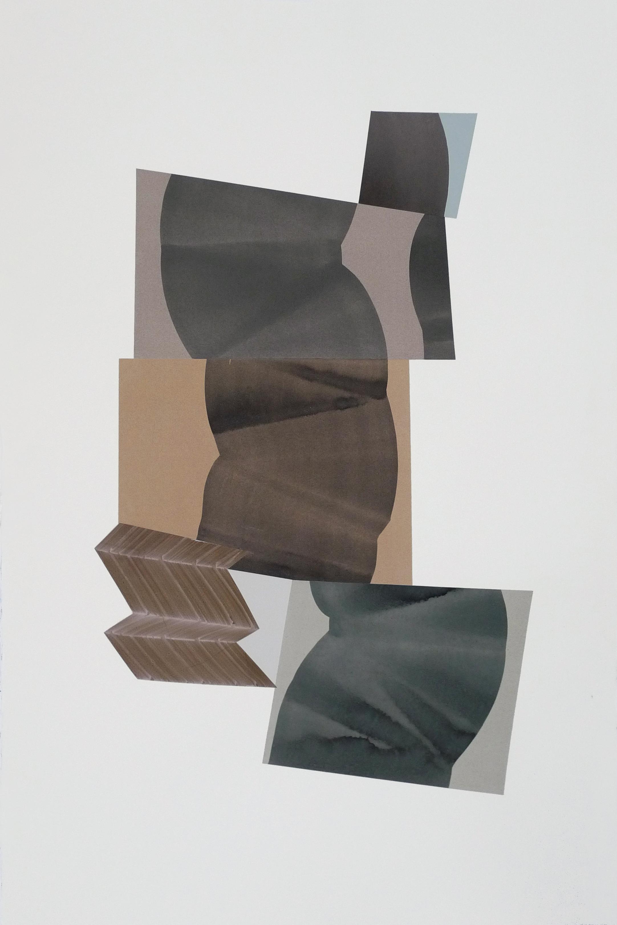 """Simone Rochon, Ombres souples no. 3 , 2017, collage, encre acrylique sur papier Waterford,40"""" x 26"""" (102 x 66 cm)."""