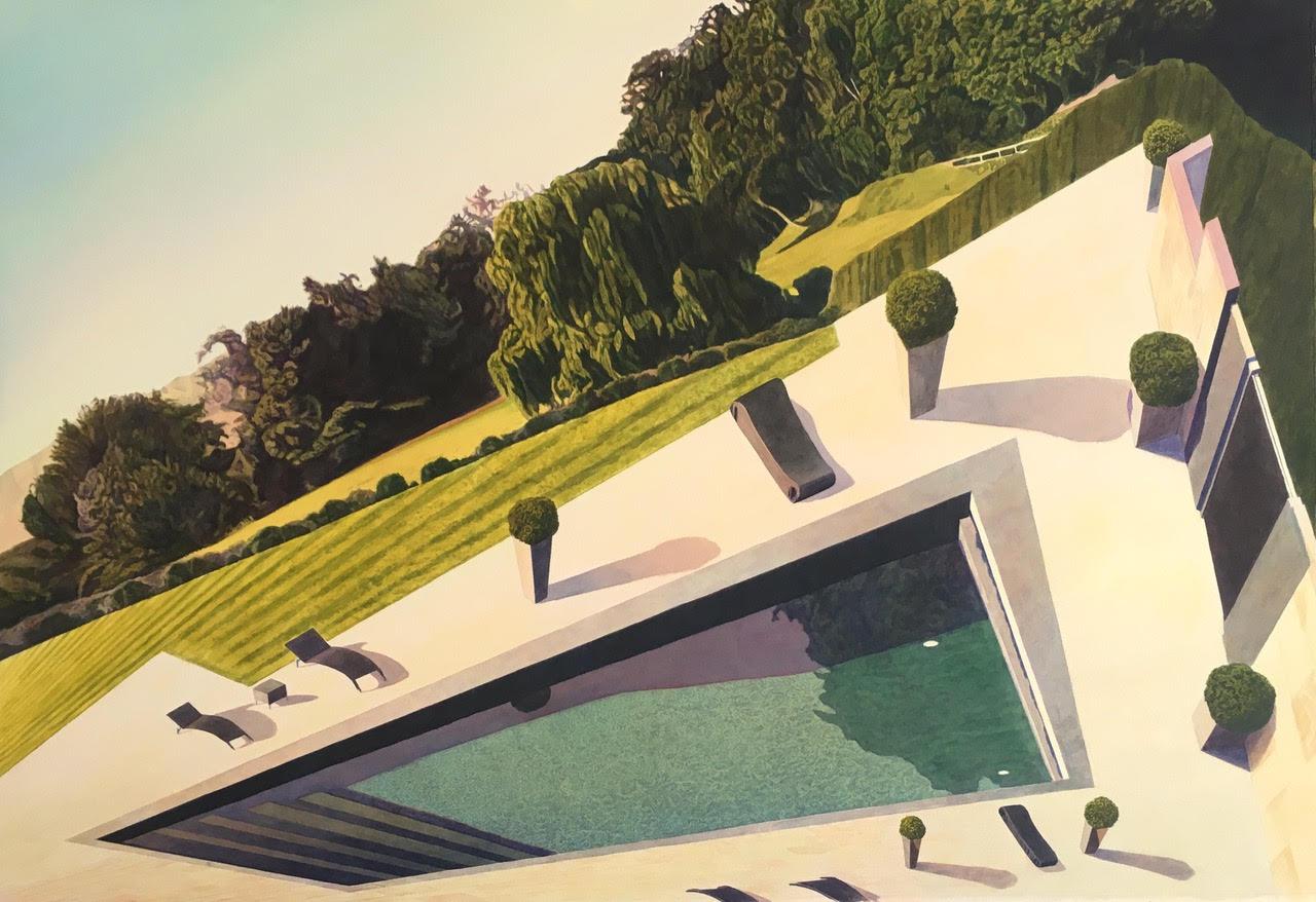 """Tristram Lansdowne,  Crash , 2018, aquarelle sur papier, cadre peint par l'artiste, 30"""" x 44"""" (76 x 112 cm)."""