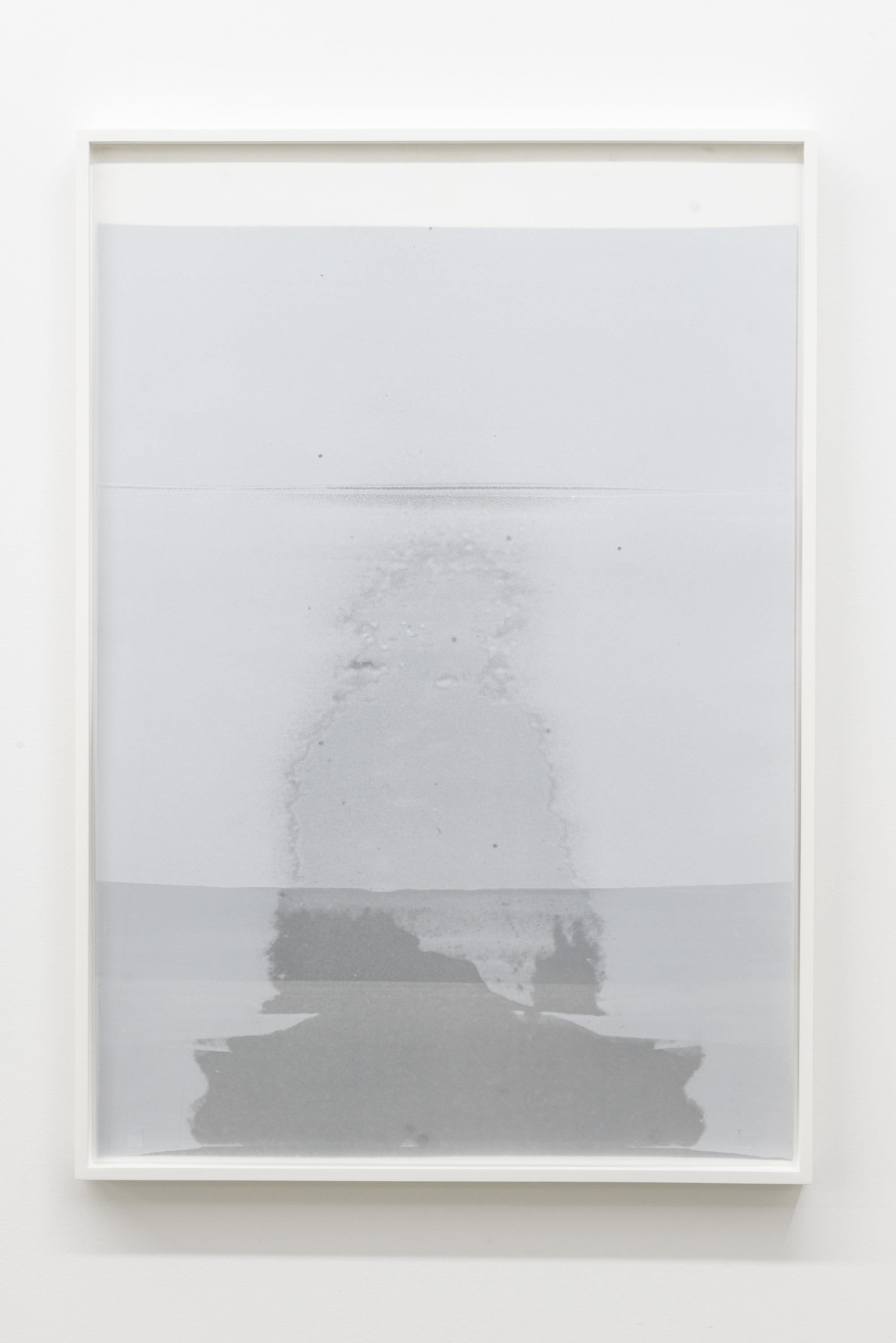 """Jim Verburg,  Sans titre (Ghost, in the palest blue) , 2015, huile sur mylar, 76 x 54 cm (31"""" x 22"""")"""