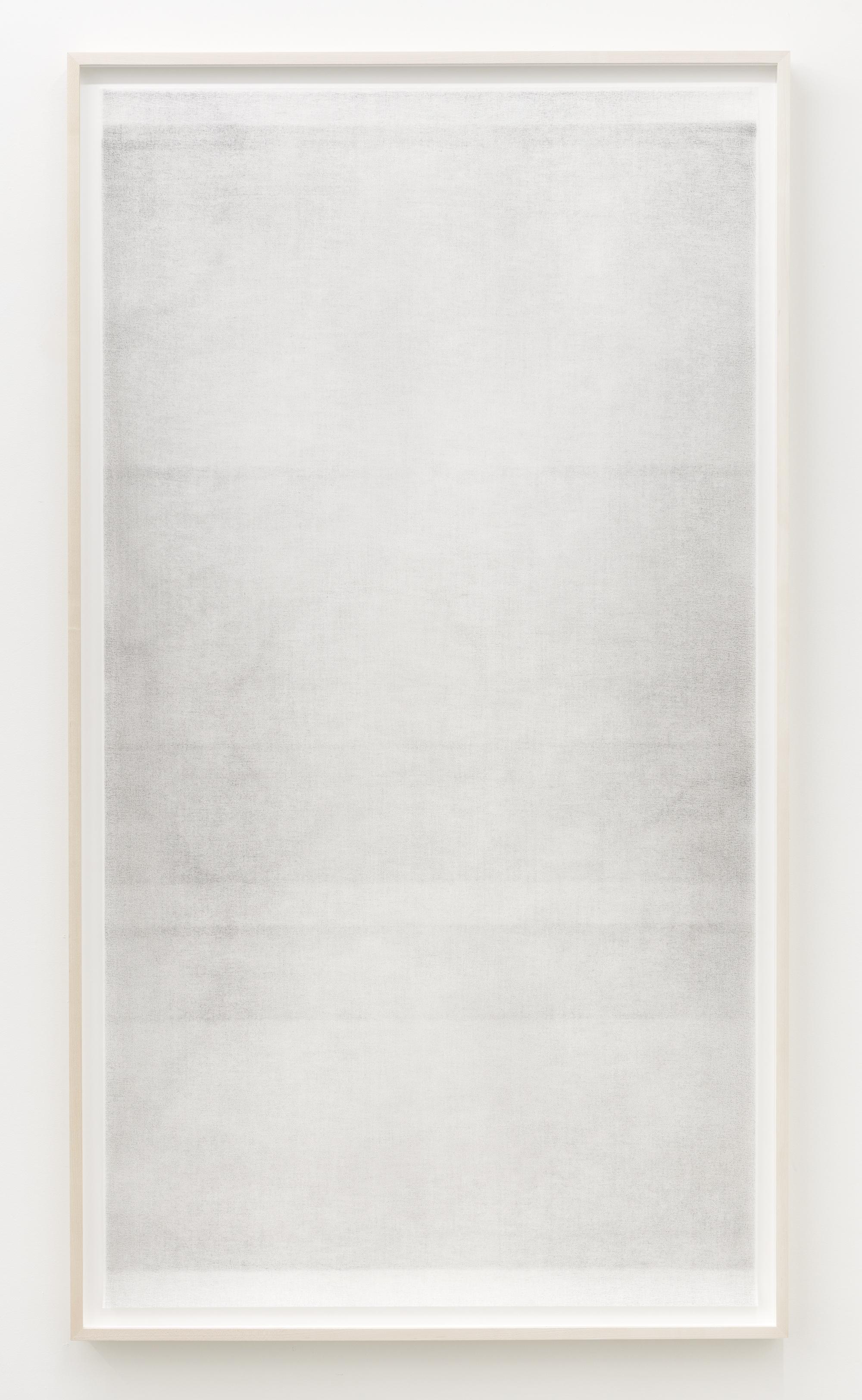 """Jim Verburg,  Sans titre (when it settles #5 from the series A Certain Silence) , 2017, huile, graphite et fusain sur tarlatan, 150 x 89 cm (59"""" x 35"""")"""