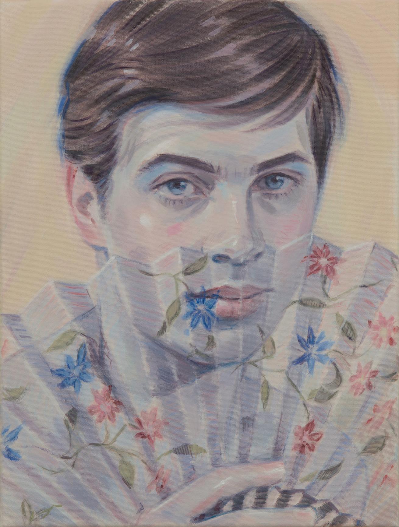 """Kris Knight,  Floral Screen , 2018, huile sur toile, 41 x 30 cm (16"""" x 12"""")"""
