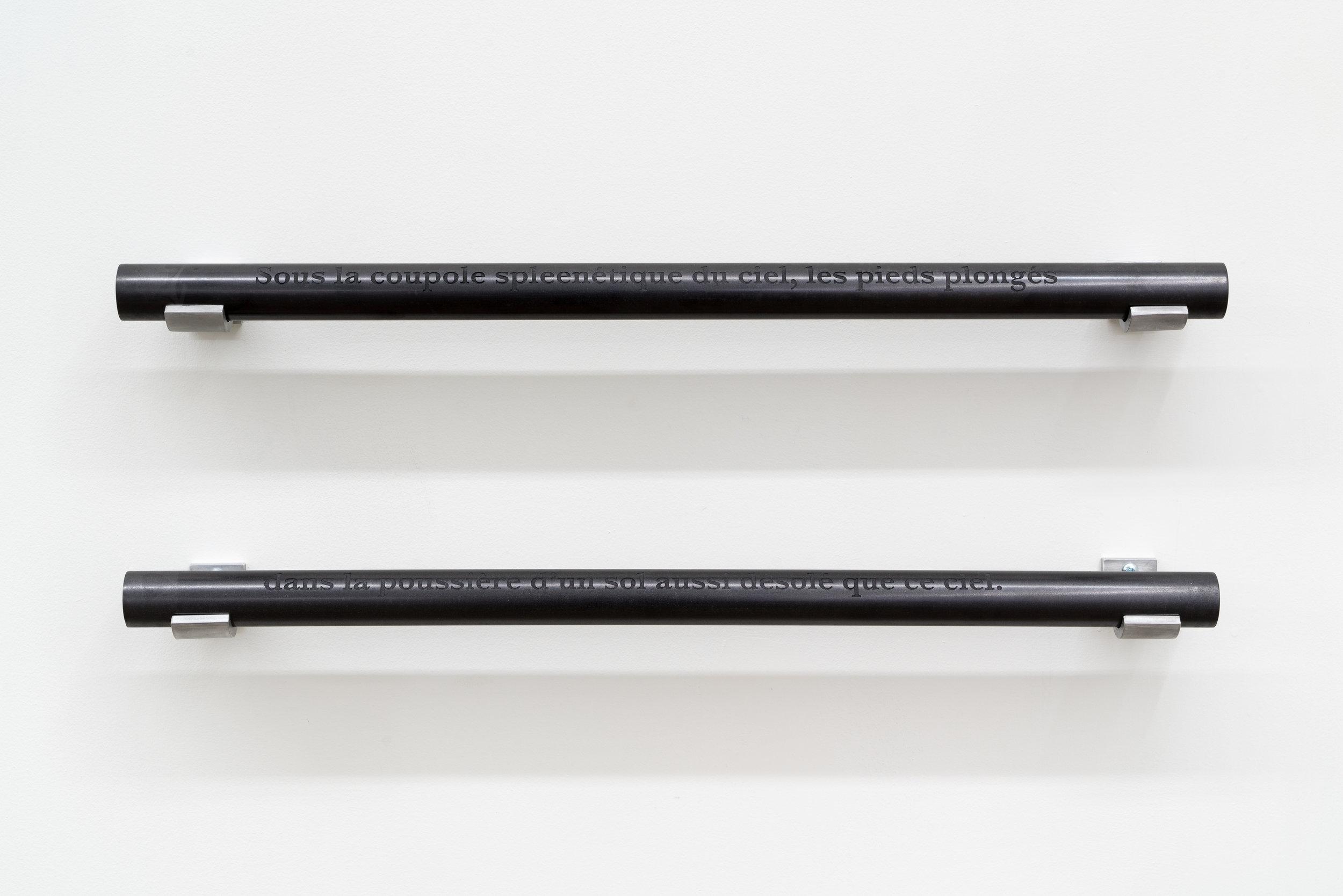 """Carl Trahan,  Sous la coupole spleenétique , 2018, tiges de graphites gravées et aluminium, 20 x 61 x 7 cm (8"""" x 24"""" x 3"""")"""
