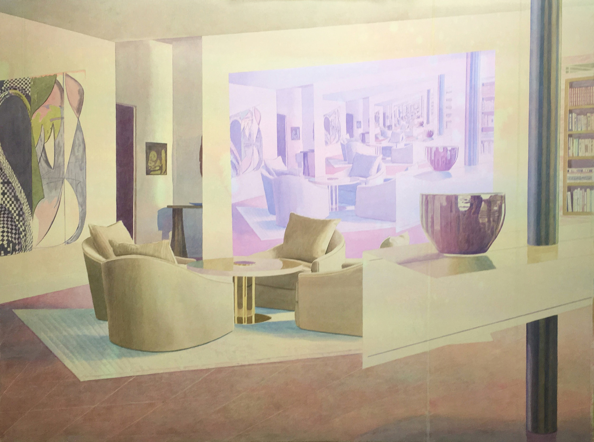 """Tristram Lansdowne,  Salon en abîme , 2016, aquarelle sur papier, cadre peint par l'artiste, 76 x 109 cm (30"""" x 43"""")"""