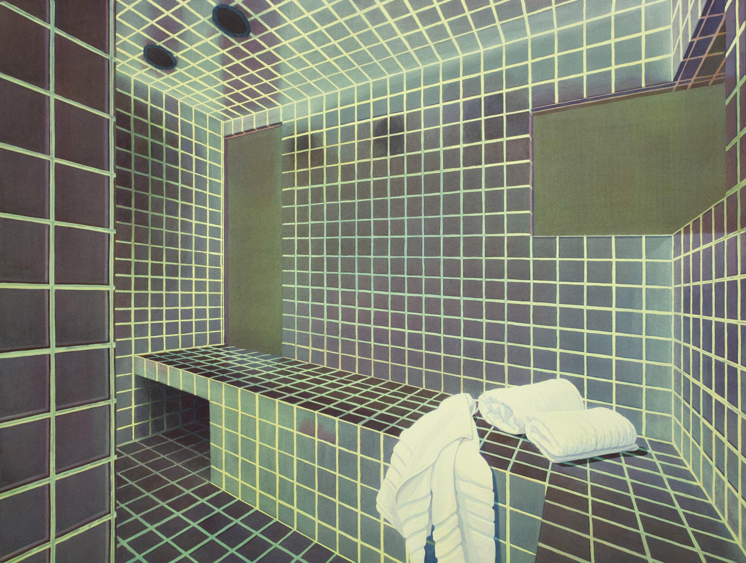"""Tristram Lansdowne,  Like a virgin , 2018, aquarelle sur papier, cadre peint par l'artiste, 71 x 94 cm (28"""" x 37"""")"""