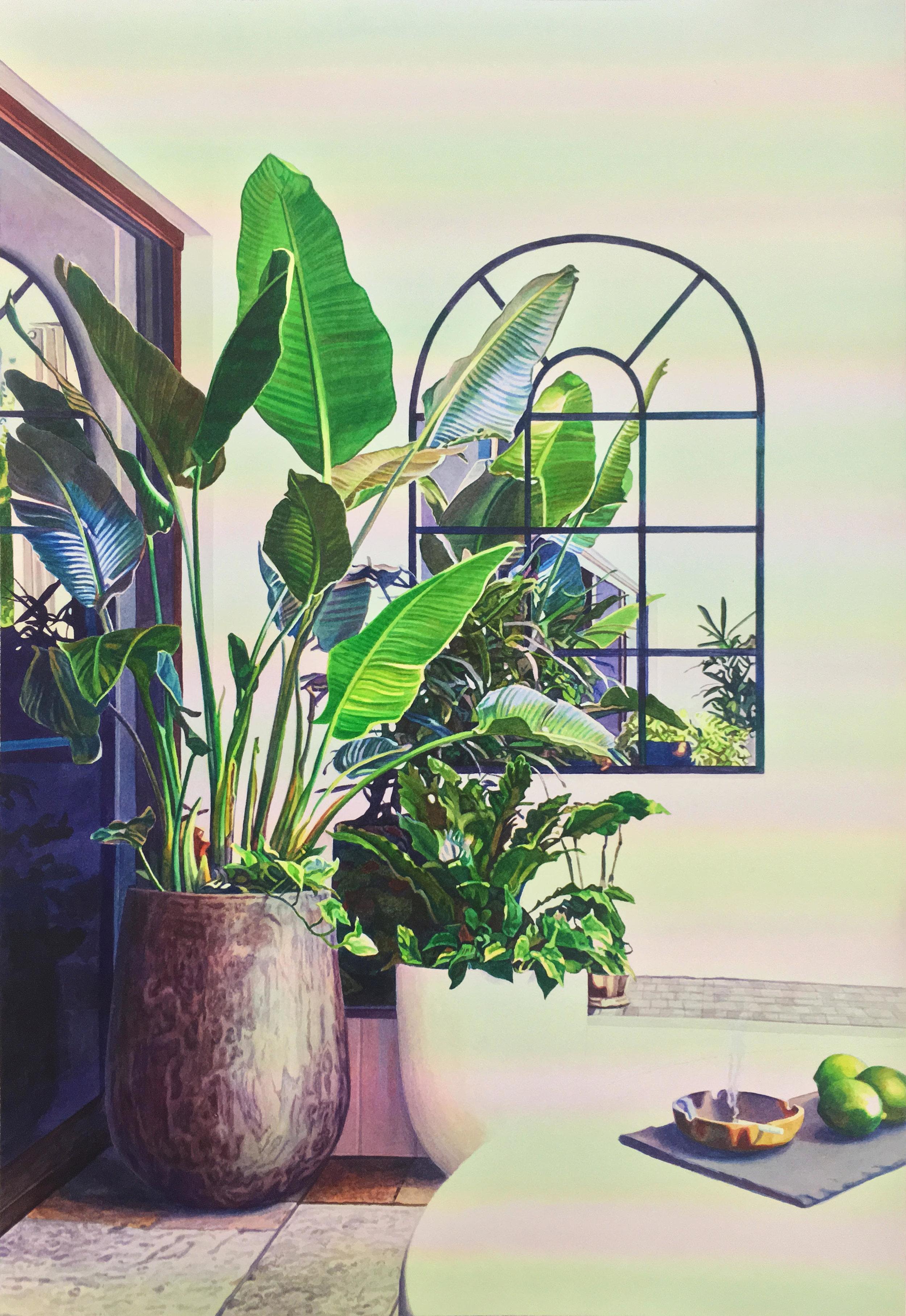 """Tristram Lansdowne,  Over-Identification Blues , 2018, aquarelle sur papier, cadre peint par l'artiste, 65 x 44 cm (25.5"""" x 17.5"""")"""