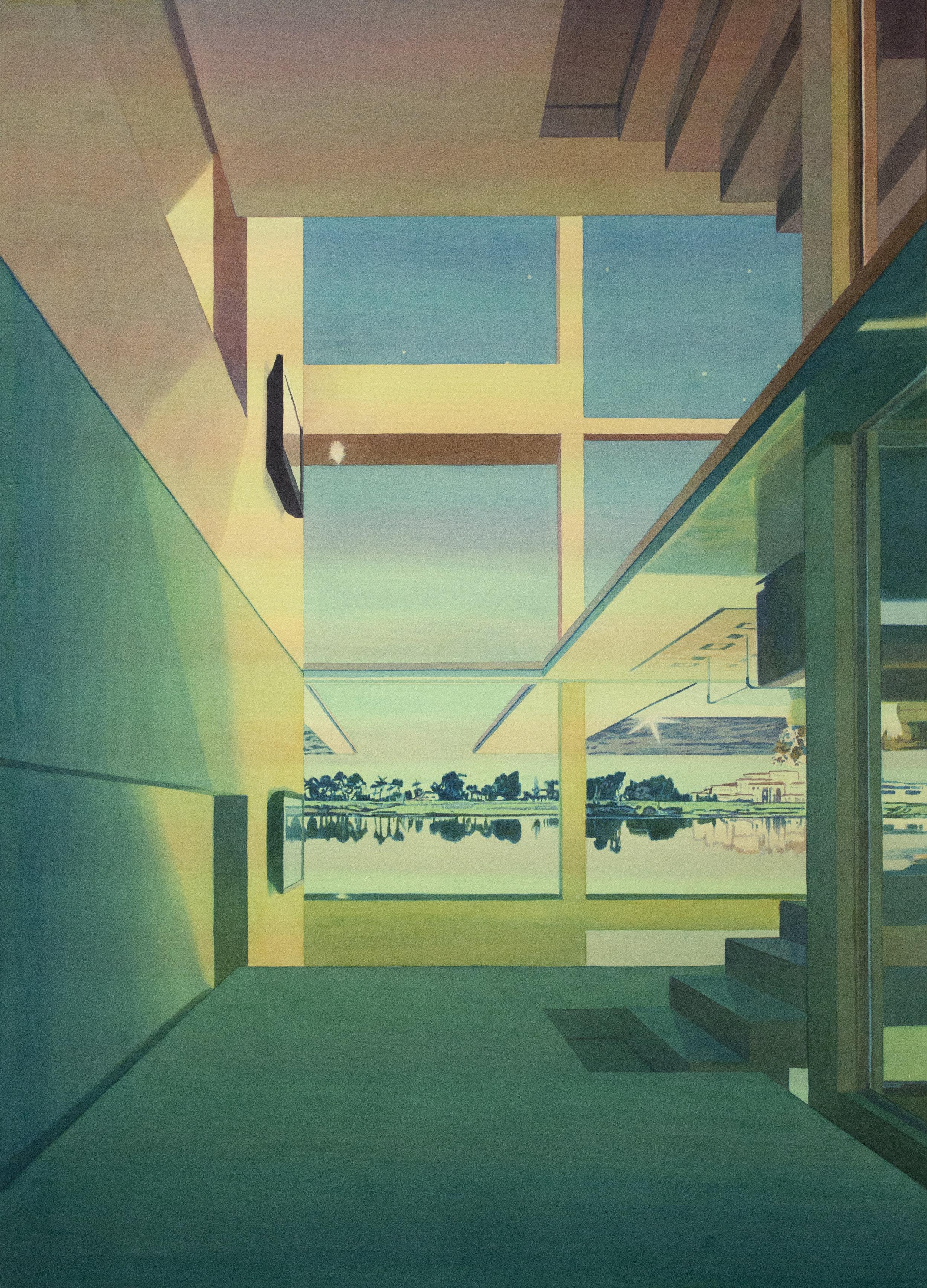 """Tristram Lansdowne,  Vacation Home II , 2018, aquarelle sur papier, cadre peint par l'artiste, 91 x 66 cm (36"""" x 26"""")"""