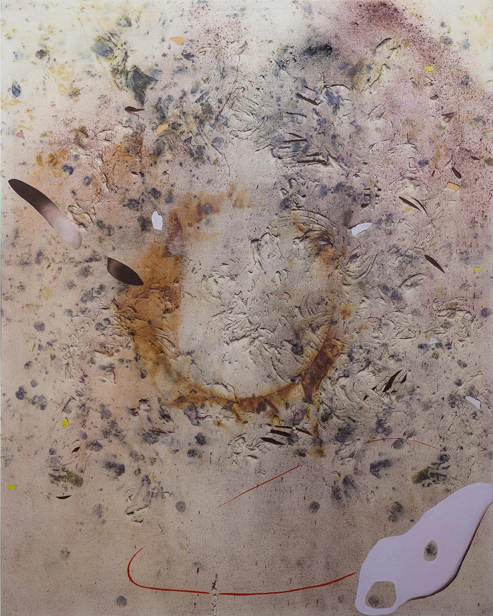 """Gillian King,  Low Tide Cormorants , 2018, médium à cire froide, huile, pigments bruts, sédiments de rouille et divers matériaux végétaux (cèdre, fougère, roses trémière, peau d'oignon, plantain, cornouiller géant, rose, sumac et fleurs sauvages) sur toile, 60"""" x 48"""" (152 x122 cm)"""