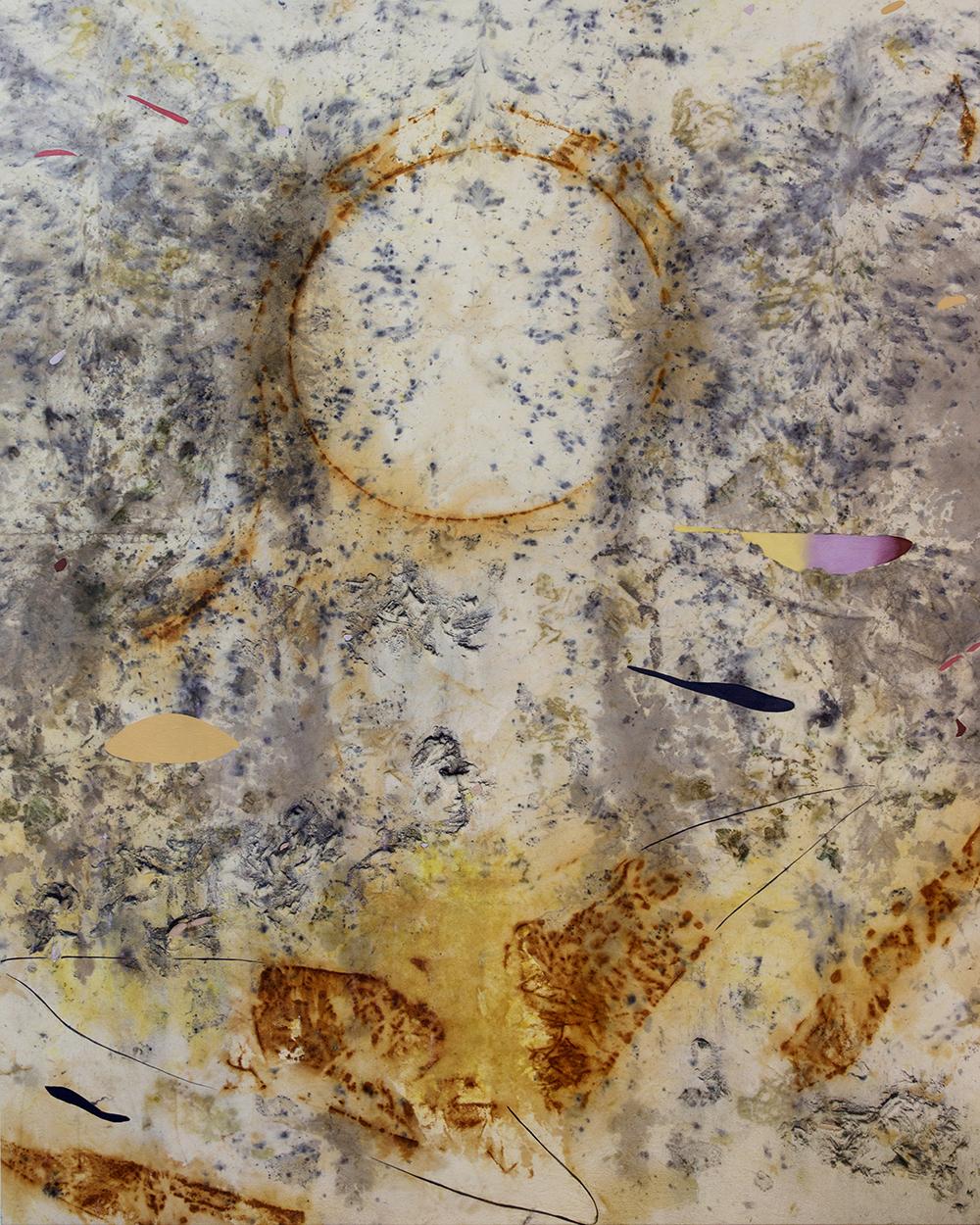 """Gillian King,  Moon Gardener's Almanac , 2019, médium à cire froide, huile, pigments bruts, sédiments de rouille et divers matériaux végétaux (peau d'oignon, rose, sumac et fleurs sauvages) sur toile, 60"""" x 48"""" (152 x122 cm)"""