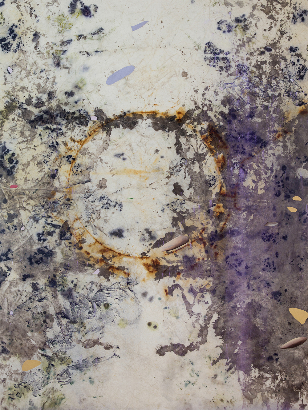 "Gillian King,  Moon Marrow , 2019, médium à cire froide, huile, pigments bruts, sédiments de rouille et divers matériaux végétaux (peau d'oignon, rose, sumac et fleurs sauvages) sur toile, 48"" x 36"" (122 x91 cm)"