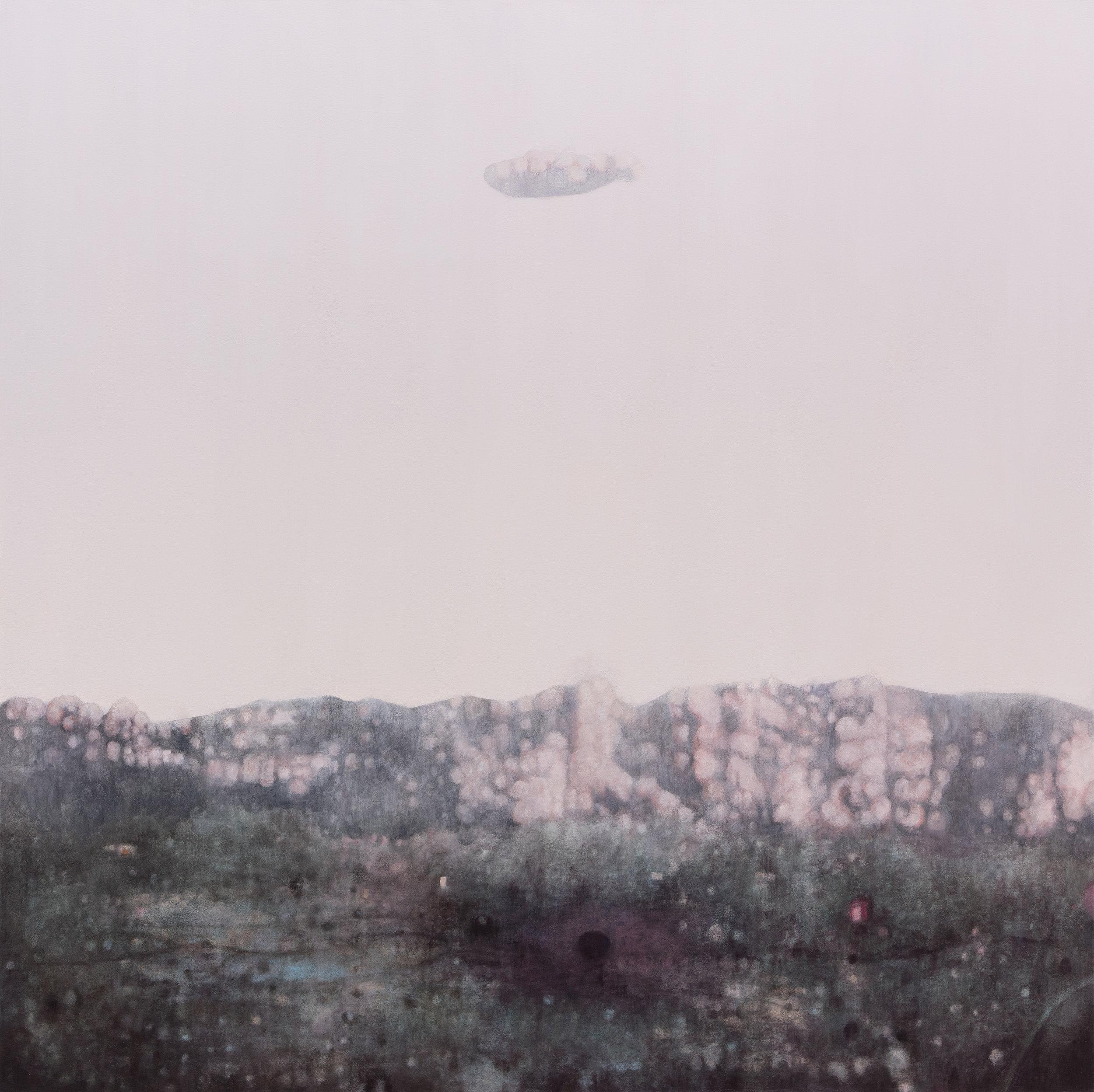 """Joe Lima, Oneiric Field , 2019, peinture à l'huile et cire sur toile, 183 x 183 cm (72"""" x 72"""")"""