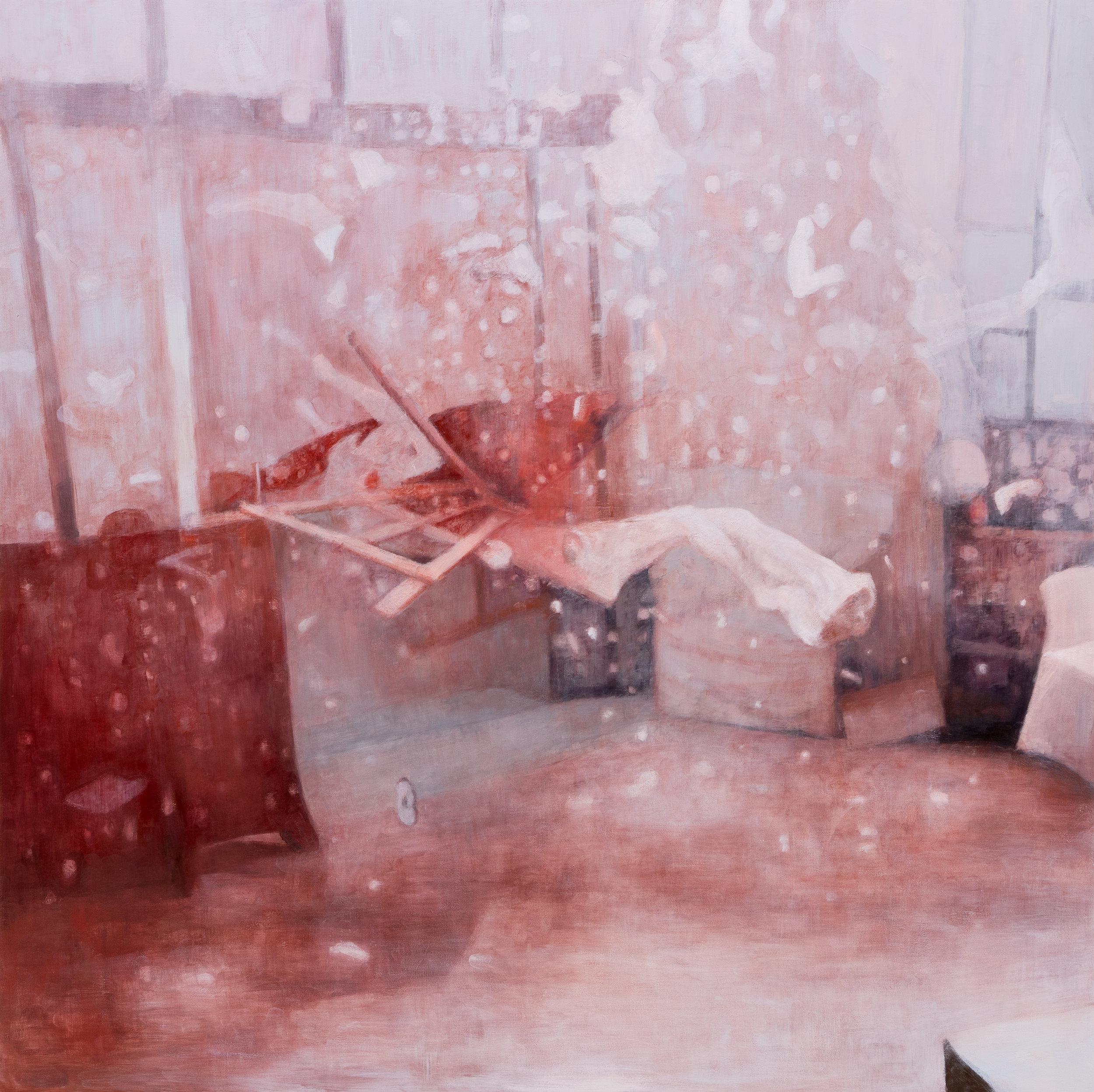 """Joe Lima, Everything Moves Around Everything Else, 2019, peinture à l'huile et cire sur panneau de bois, 152 x 152 cm (60"""" x 60"""")"""