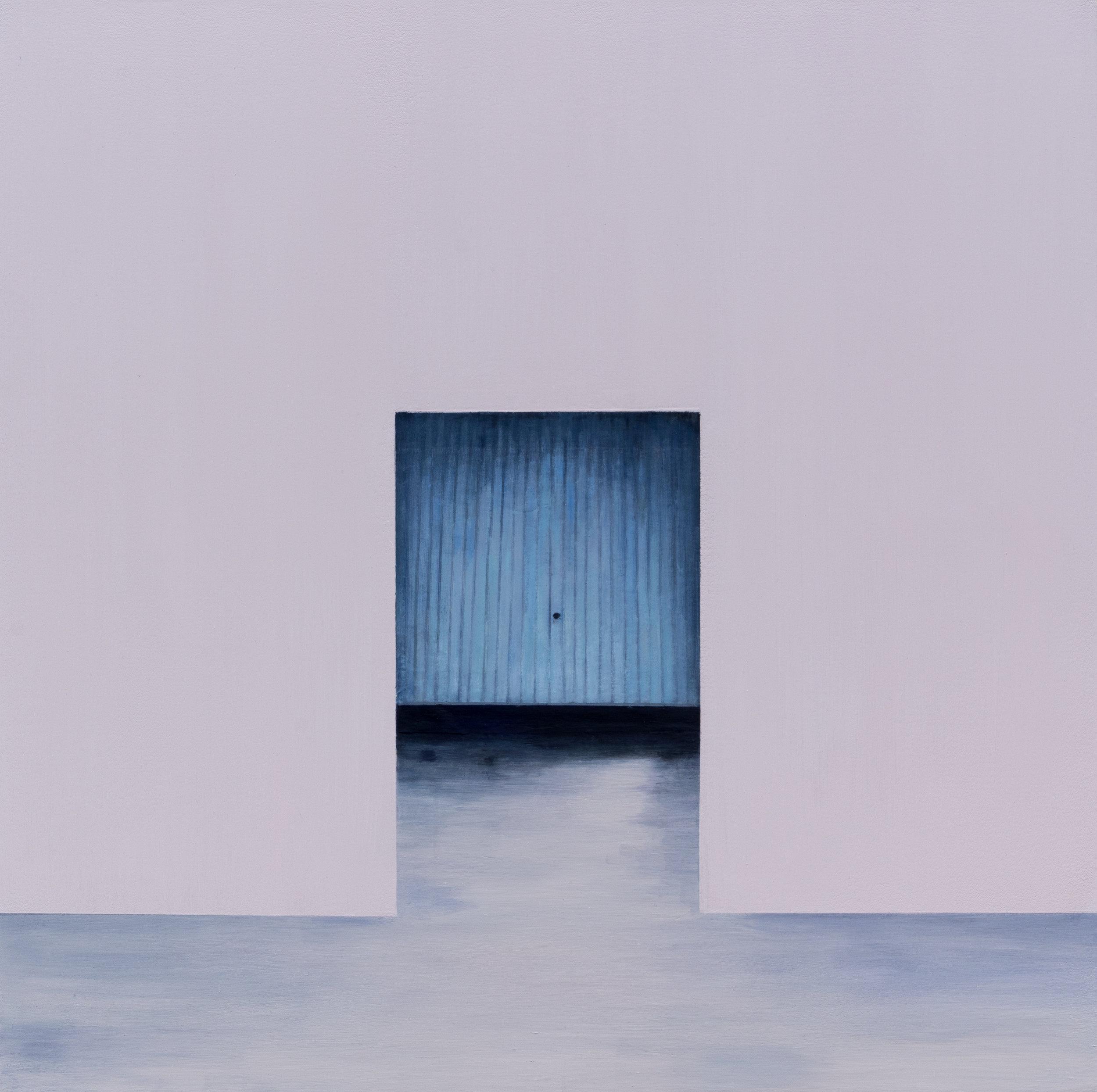 """Joe Lima, Blue Entrance, 2019, peinture à l'huile et cire sur toile, 71 x 71 cm (28"""" x 28"""")"""