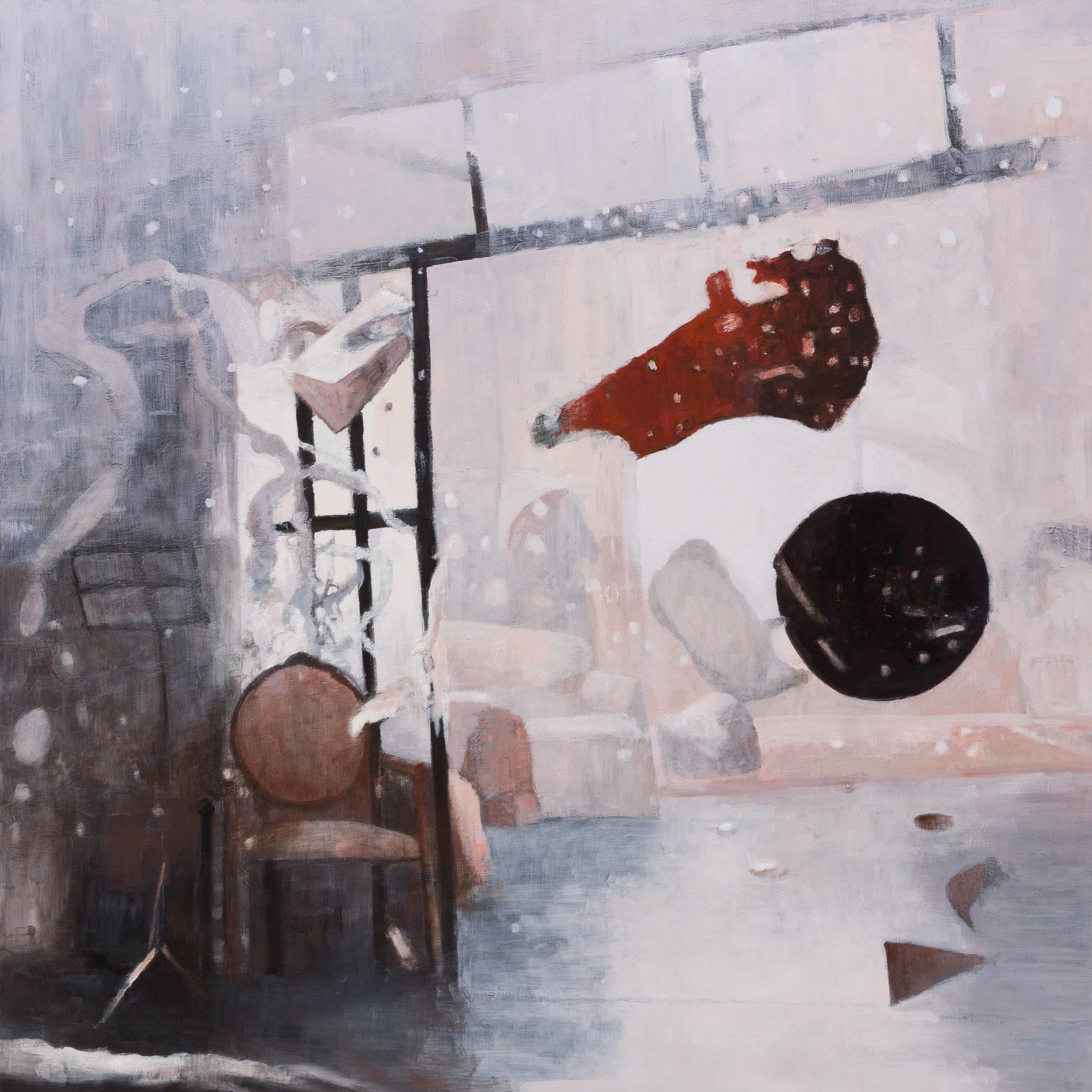 """Joe Lima, There is no place like home, 2019, peinture à l'huile et cire sur panneau de bois, 152.4 x 152.4 cm (60"""" x 60"""")"""