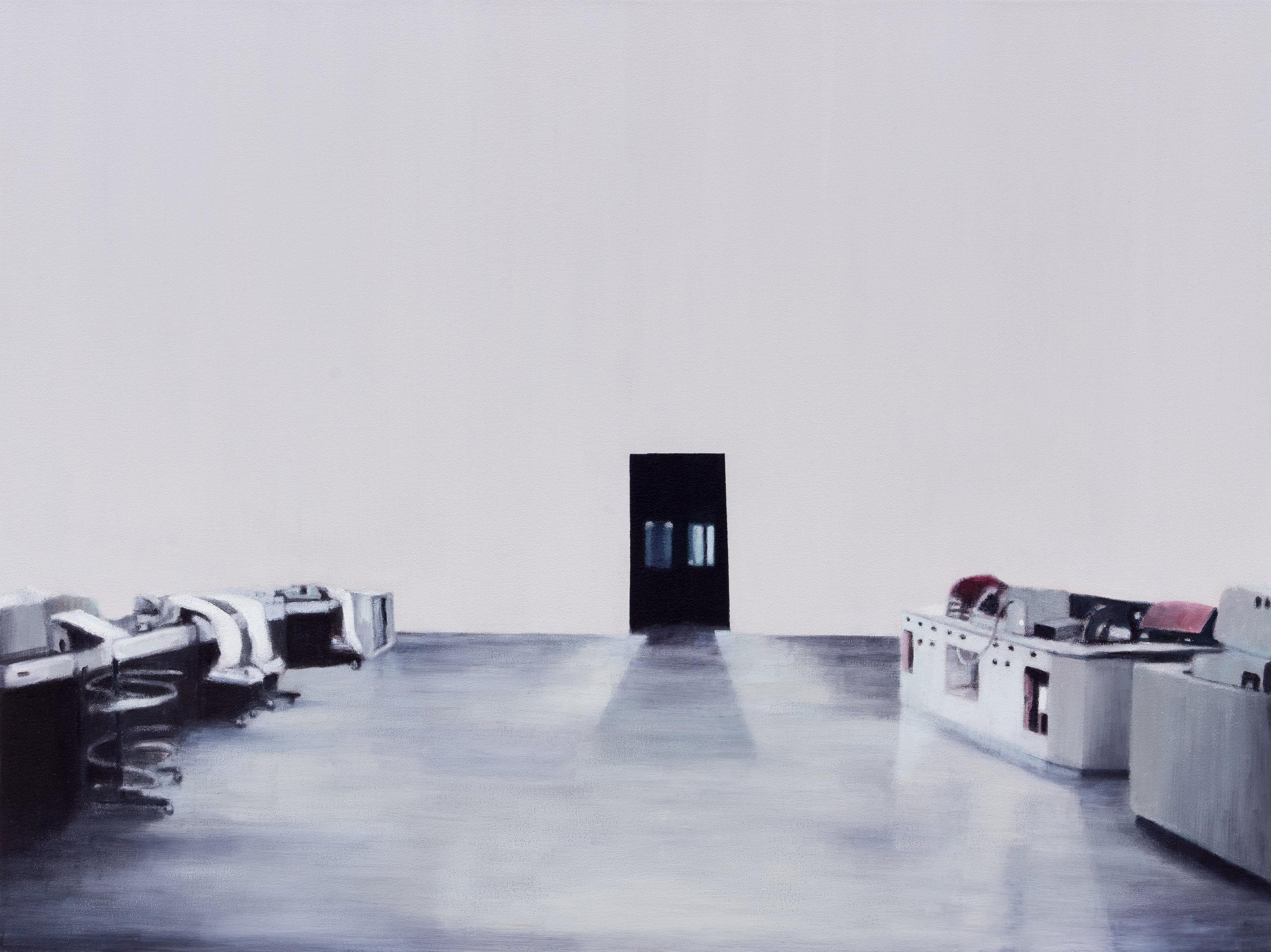 """Joe Lima, Station 21, 2019, peinture à l'huile et cire sur toile, 76 x 102 cm (30"""" x 40"""")"""