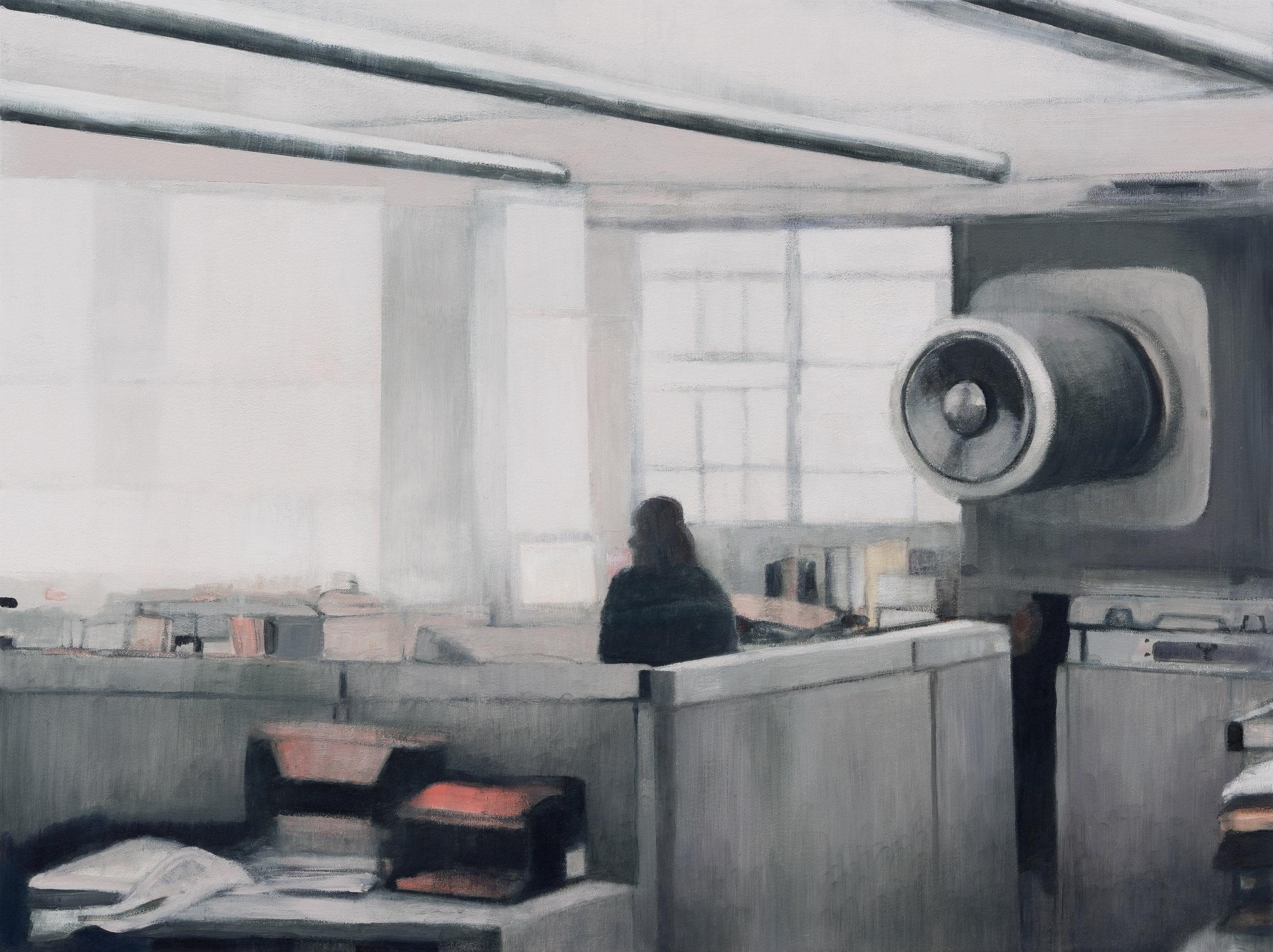 """Joe Lima, Just in Time, 2019, peinture à l'huile et cire sur toile, 76 x 102 cm (30"""" x 40"""")"""