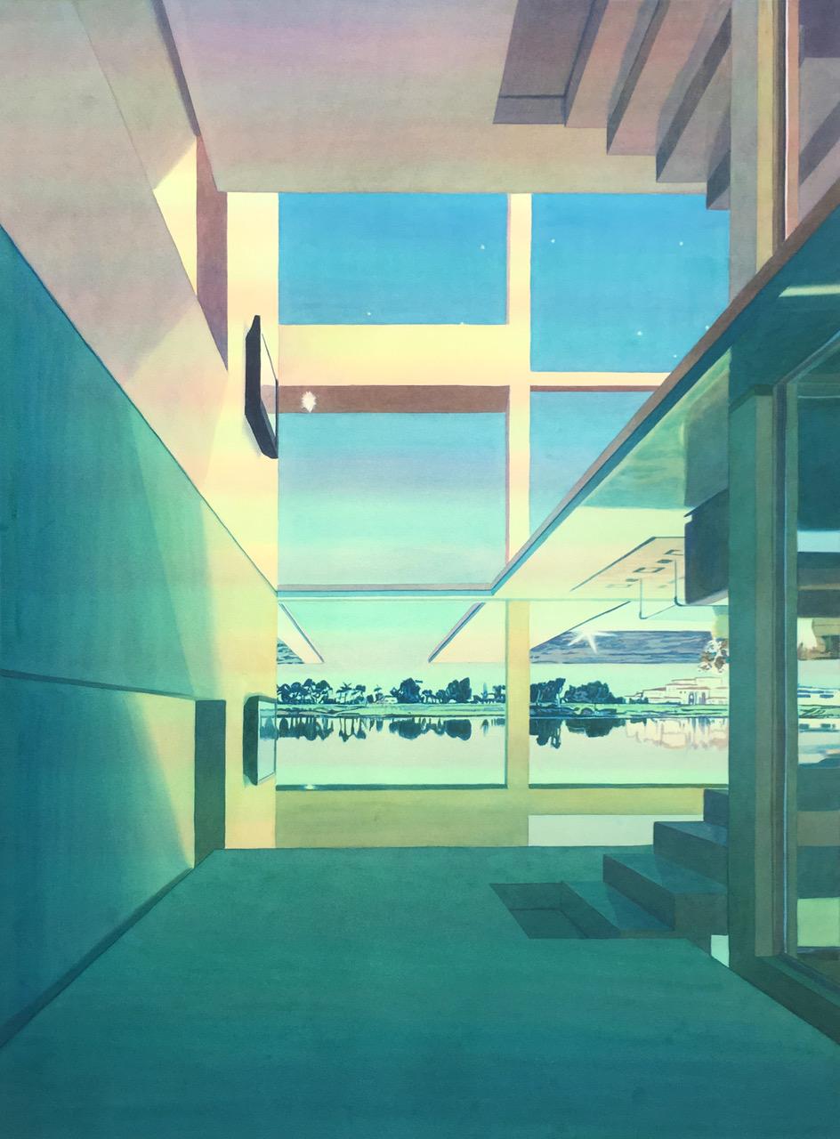 """Tristram Lansdowne, Vacation Home III , 2018, aquarelle sur papier dans un cadre fait par l'artiste, 91.5 x 66 cm (36"""" x 26"""")"""