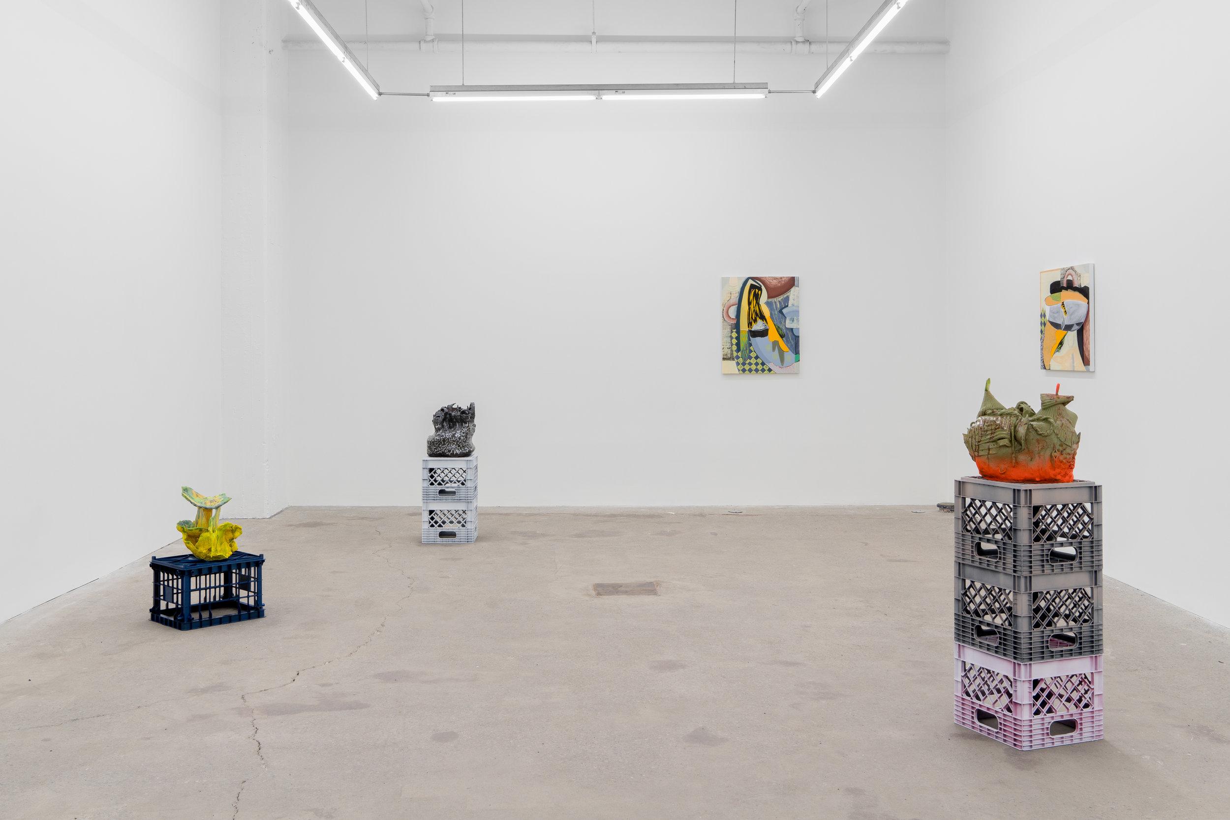 Magalie Guérin et Philippe Caron Lefebvre, 2019, vue d'exposition, Galerie Nicolas Robert, photo : Jean-Michael Seminaro