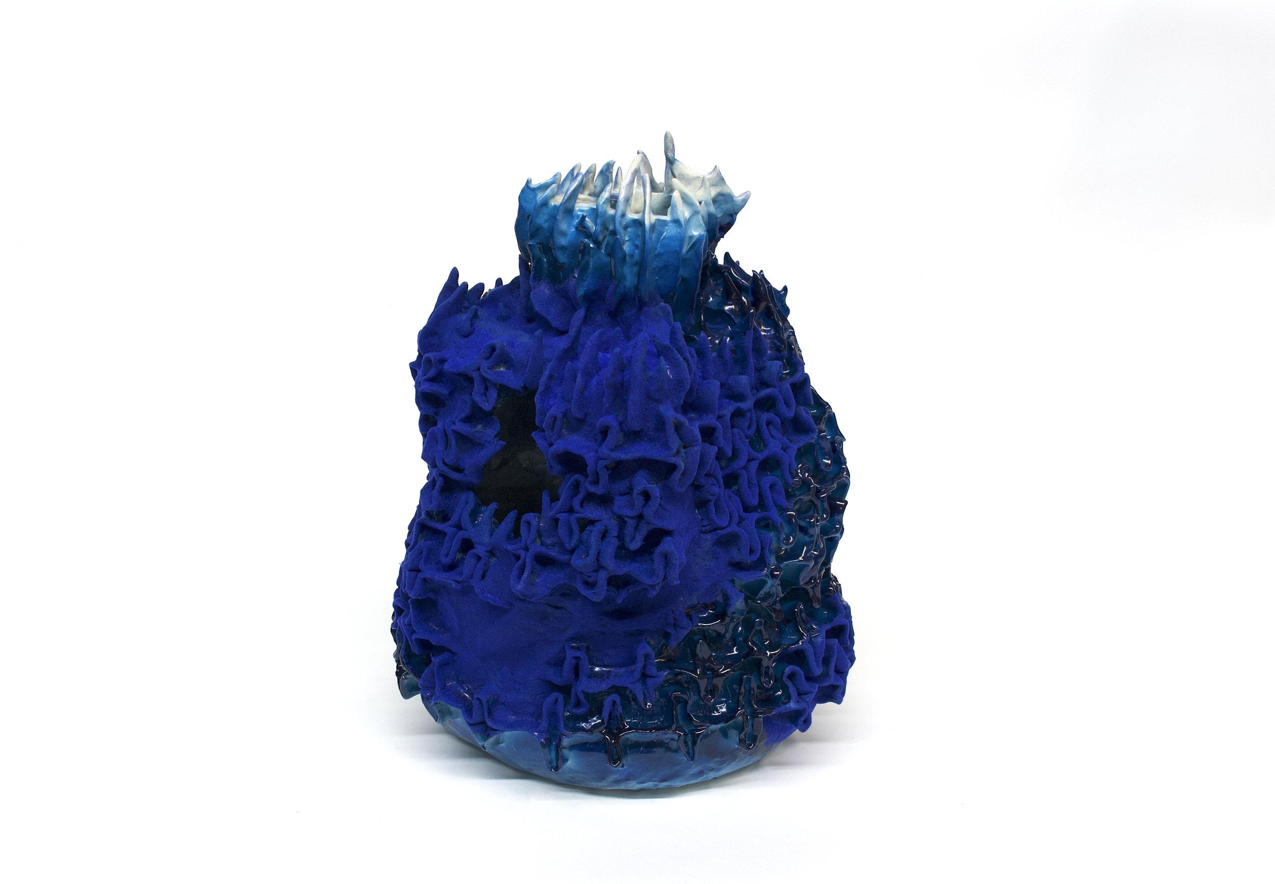 """Philippe Caron Lefebvre,  Le malin,  2019, céramique, glaçure, peinture et flocage, 43 x 31 x 31 cm (17"""" x 12"""" x 12"""")"""