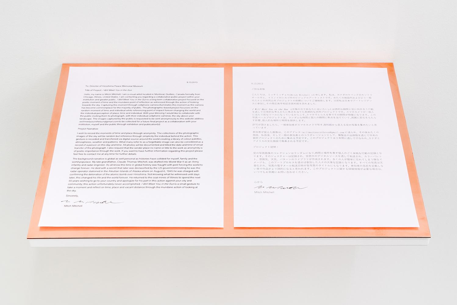 Mitch Mitchell,  I Will Meet You in the Sun (détail),  2013 - Présent, photo couleur montée sur cuivre, encre sur papier, dimensions variables