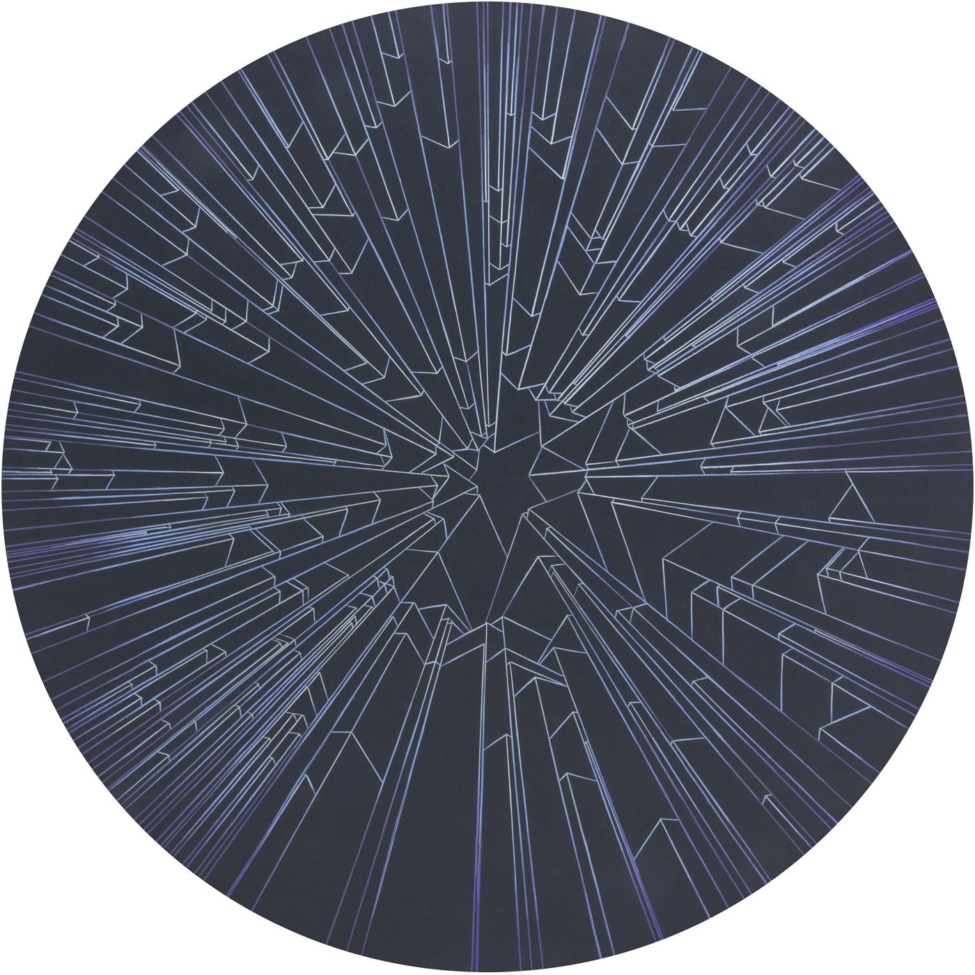 """Caroline Cloutier,  Architectures Célestes – Solstice Hiver,  2015, crayon à l'huile sur carton 4 plis, 102 x 102 cm (40"""" x 40"""")"""