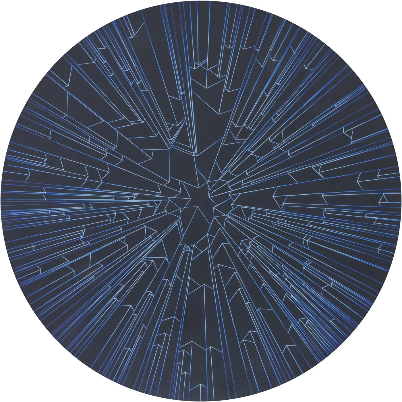 """Caroline Cloutier,  Architectures Célestes – Équinoxe Automne,  2015, crayon à l'huile sur carton 4 plis, 102 x 102 cm (40"""" x 40"""")"""