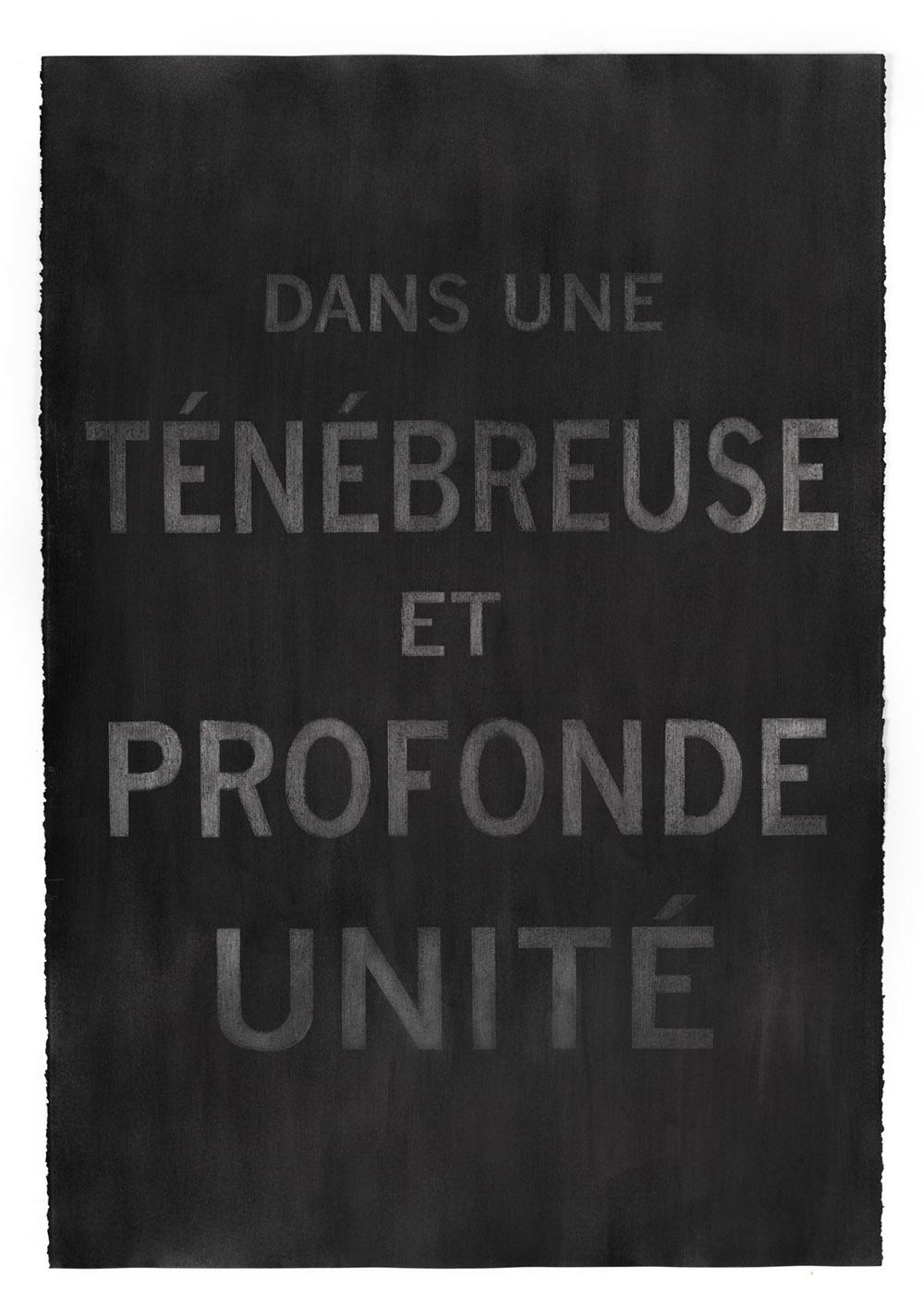 """Carl Trahan,  Dans une ténébreuse et profonde unité (In a Deep and Tenebrous Unity) , 2018, graphite sur papier, 111 x 77 cm (44"""" x 30"""")"""