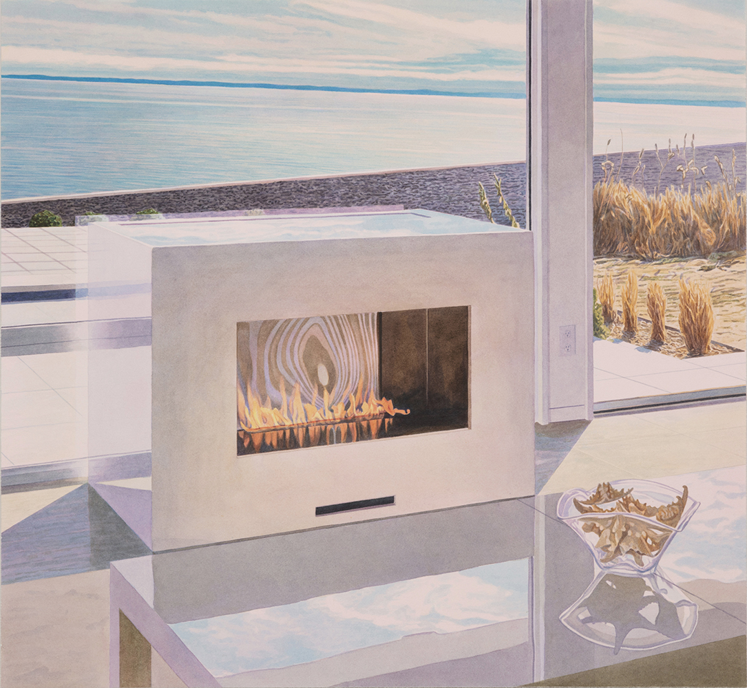 """Tristram Lansdowne,  Materialism and me,  2019, aquarelle sur papier, 63 x 68 cm (25"""" x 27"""")"""