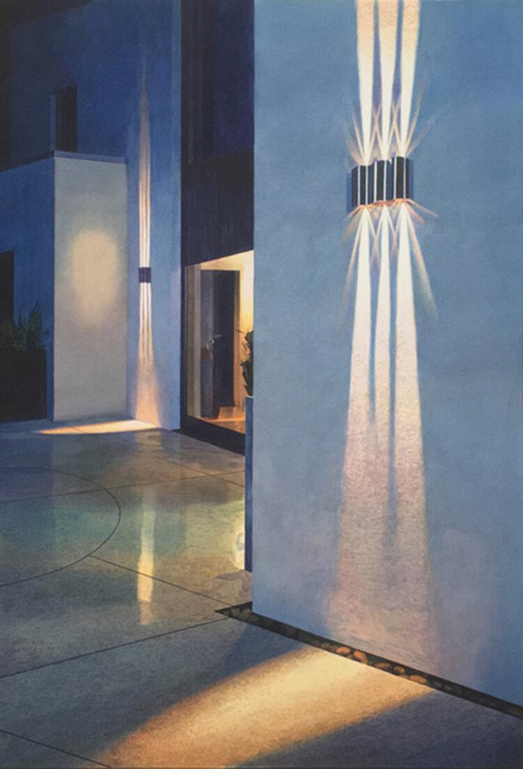 """Tristram Lansdowne,  Approach,  2019, aquarelle sur papier, 81 x 53 cm (32"""" x 21"""")"""