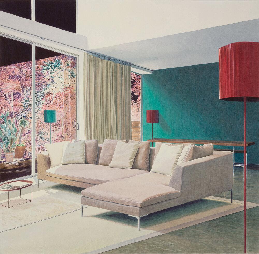 """Tristram Lansdowne,  Bay Ded hinger,  2019, aquarelle sur papier, 77 x 79 cm (30.5"""" x 31.25"""")"""