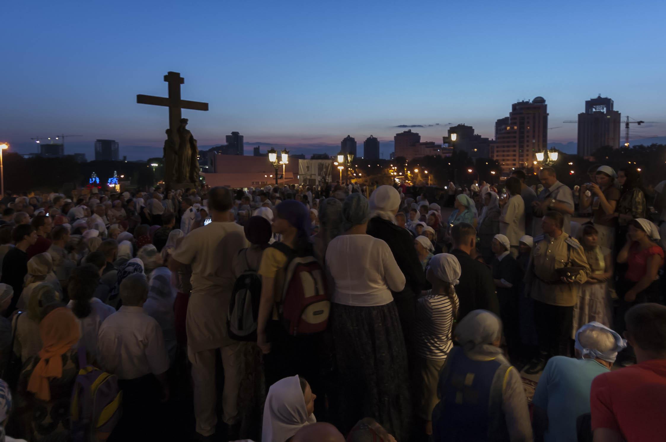 Pilgrims outside the Church on the Blood, Ekaterinburg, July 2008