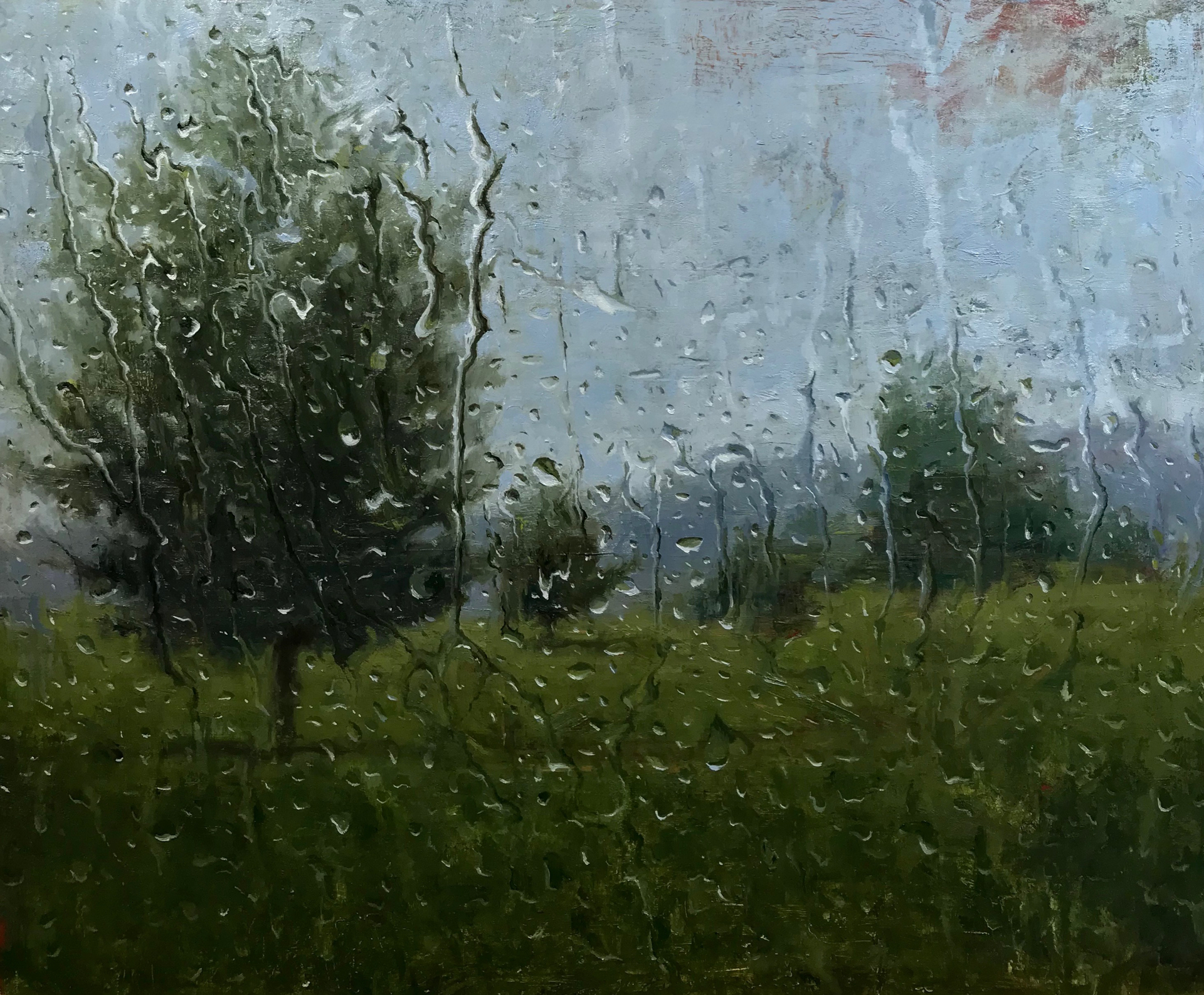 "Rain atChanticleer  - 20 x 24"" Oil  - Private Collection"