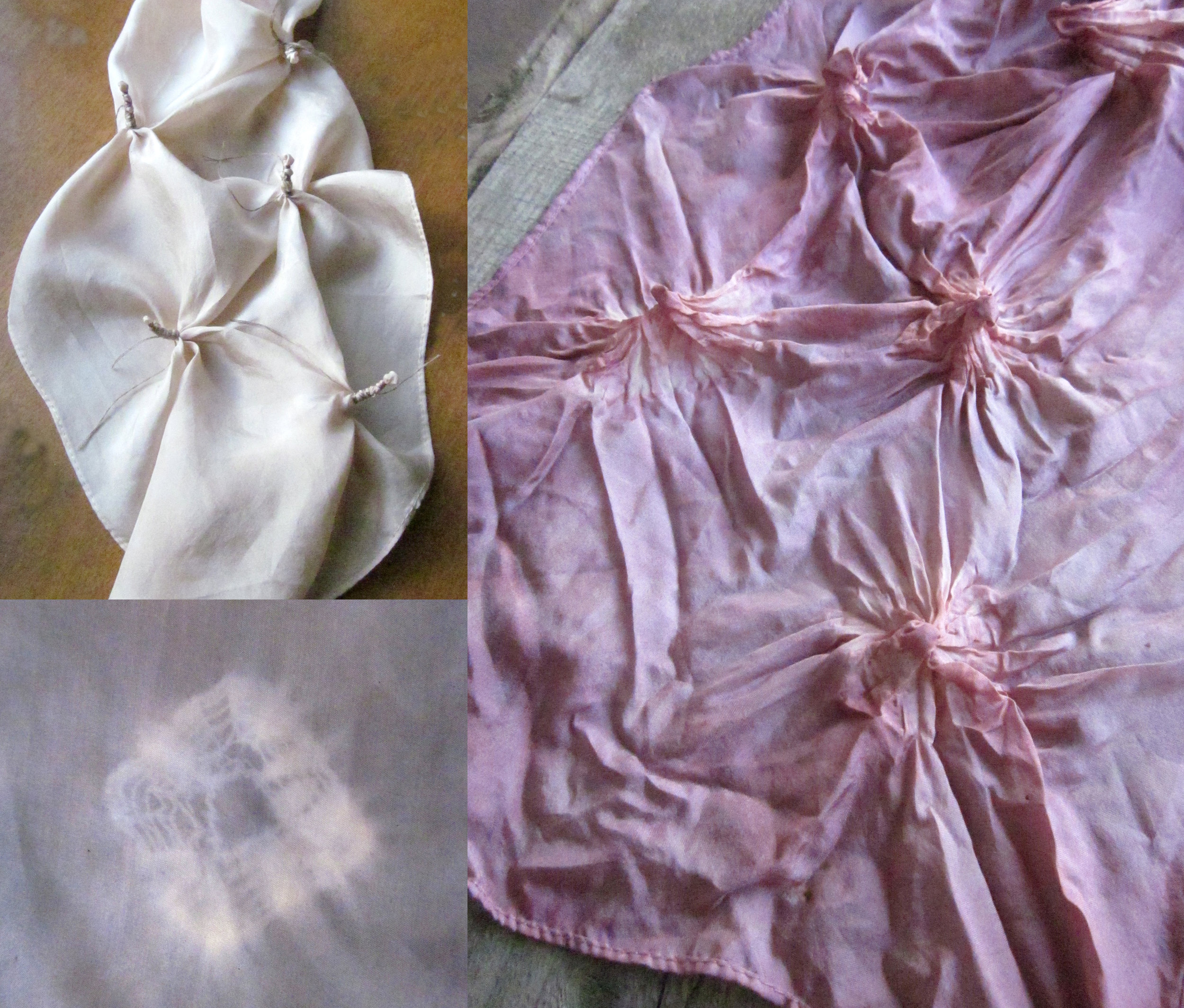 One example of shibori resist - small areas of the fabric are tightly twisted and bound.