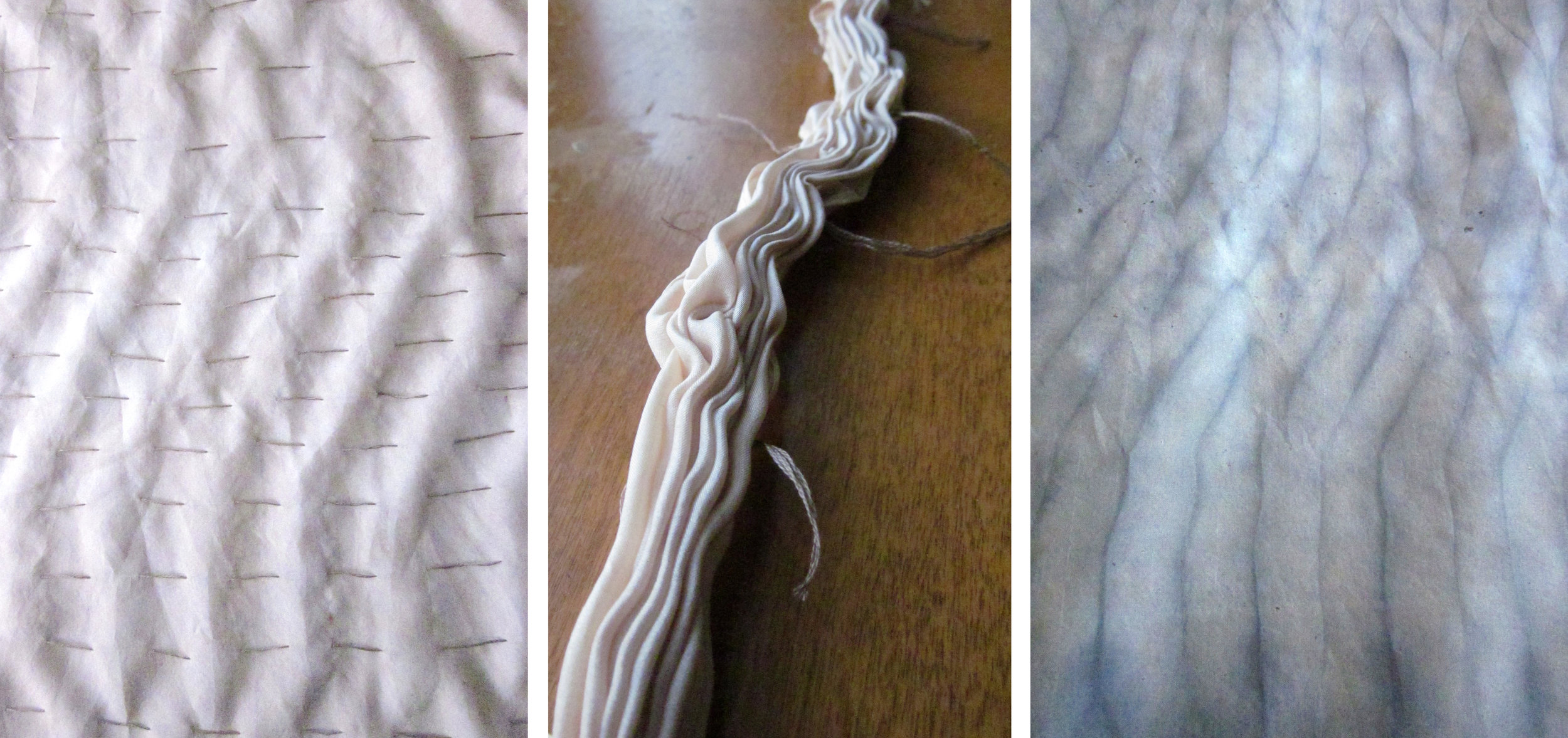 Another shibori technique utilizes rows of running stitches, gathered tightly as a resist