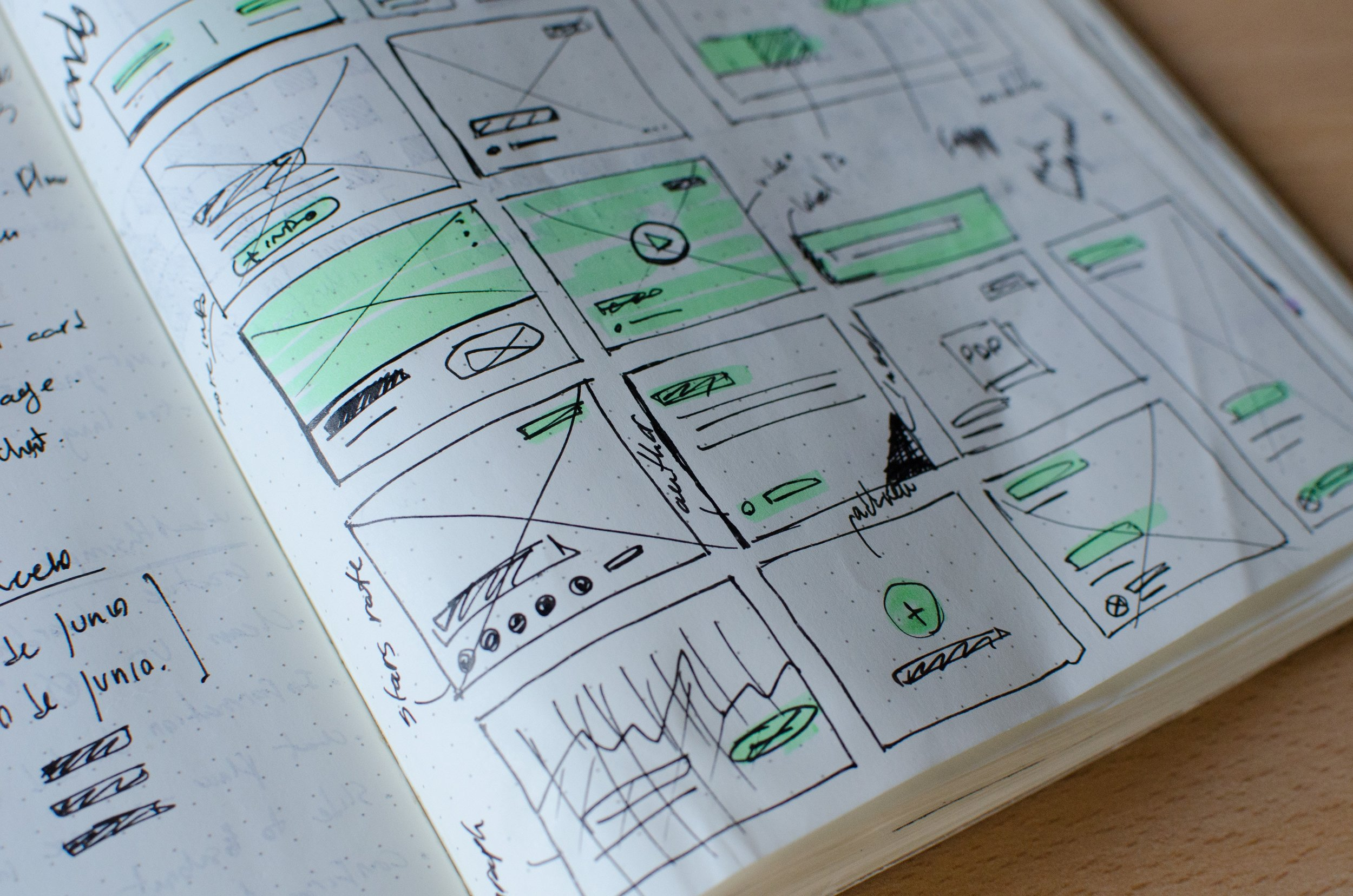 Wireframes of a Website Drawn on a Notepad