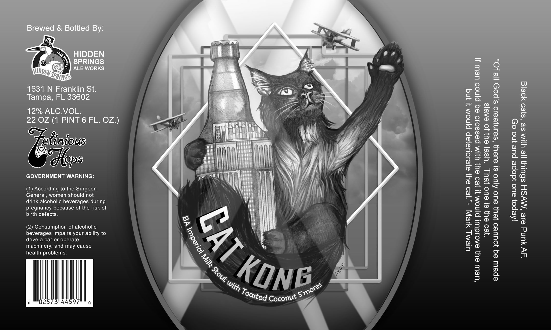 Cat Kong beer label collaboration with Hidden Springs Ale Works and Felinious Hops