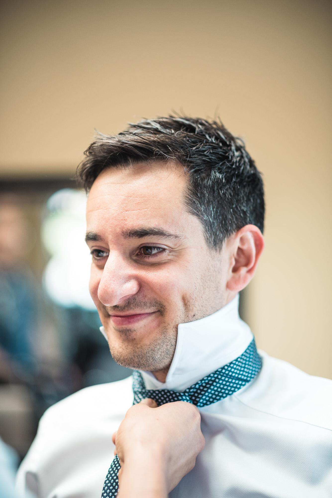 Groom tie prep