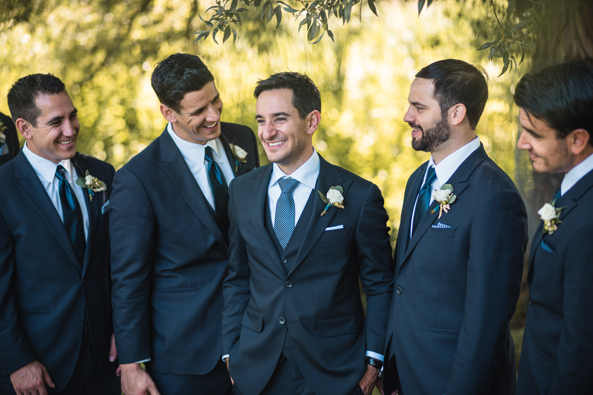 Groom and Groomsmen at the park