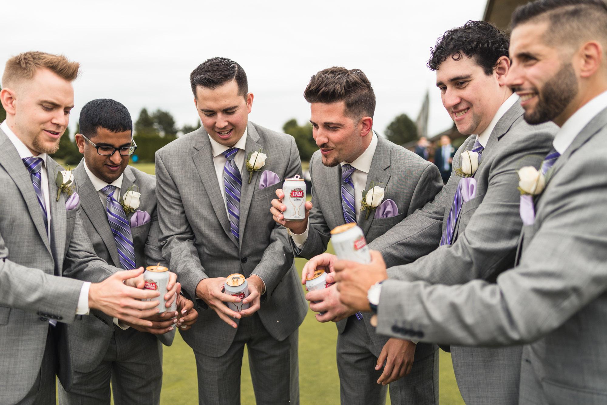 Groomsmen drinking beer