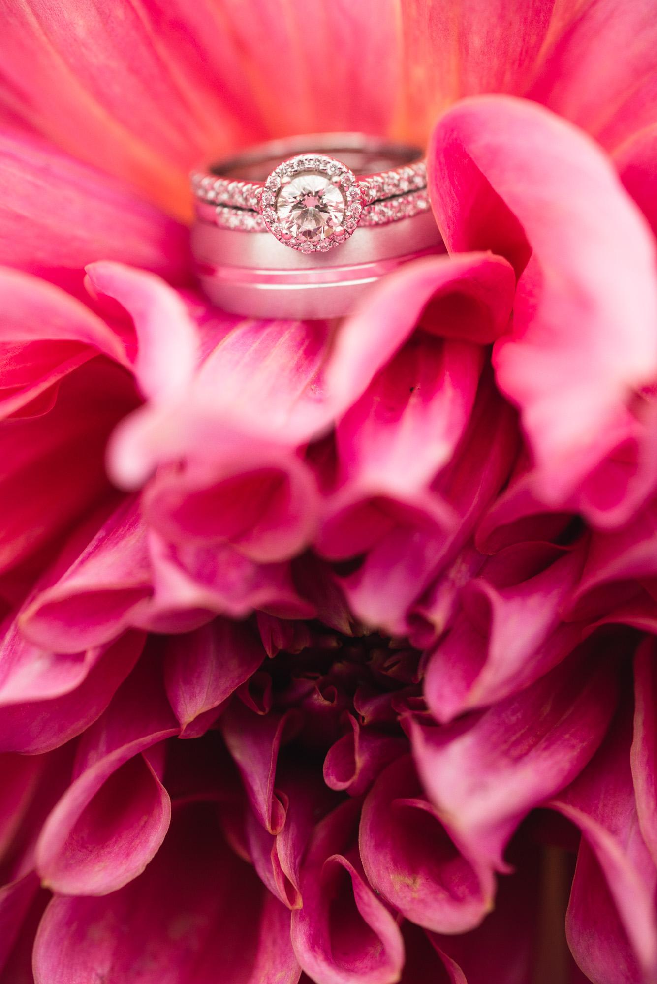 White gold ring details on pink flower