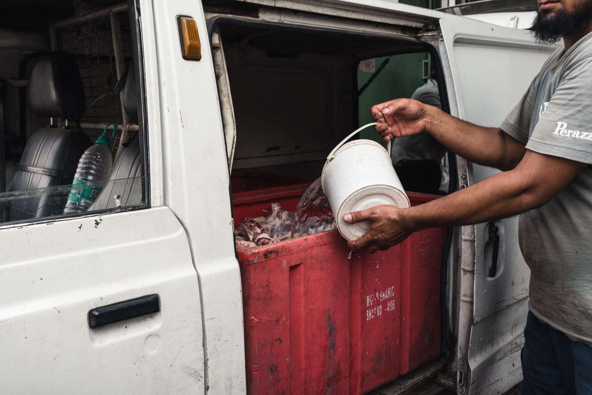 Meat truck in Old Delhi
