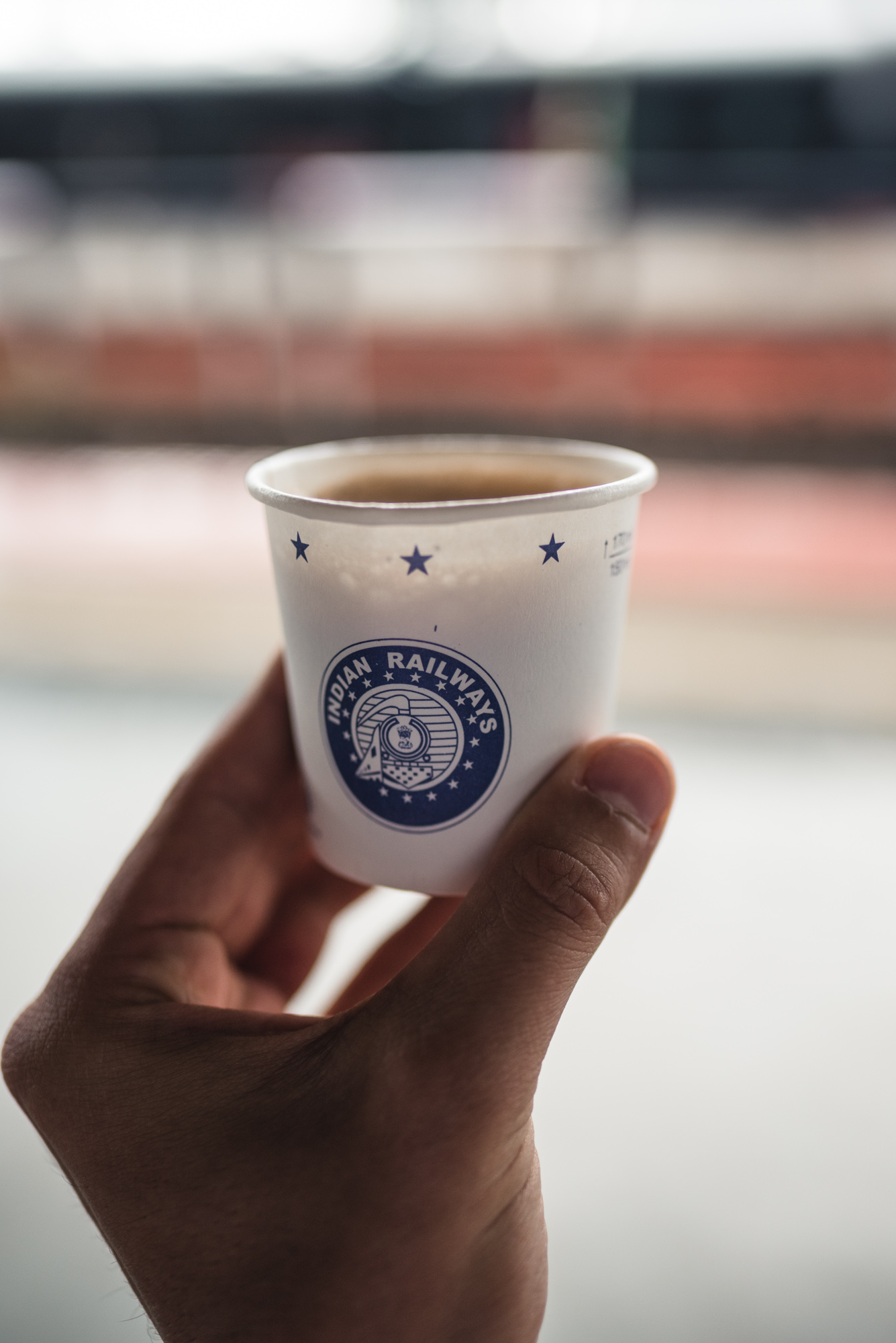 Paper cup of chai at Alleppey railway station
