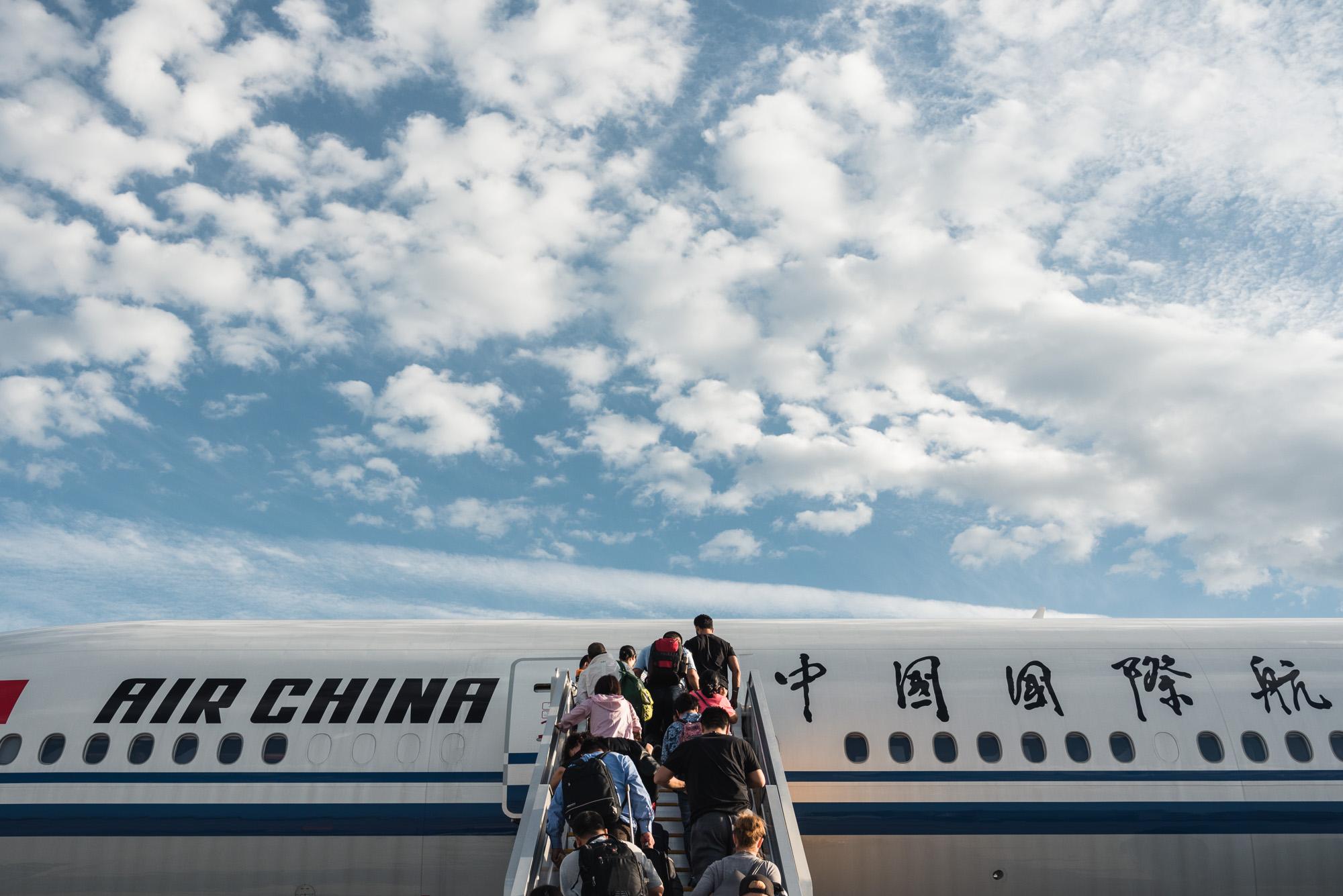 Boarding flight to go home