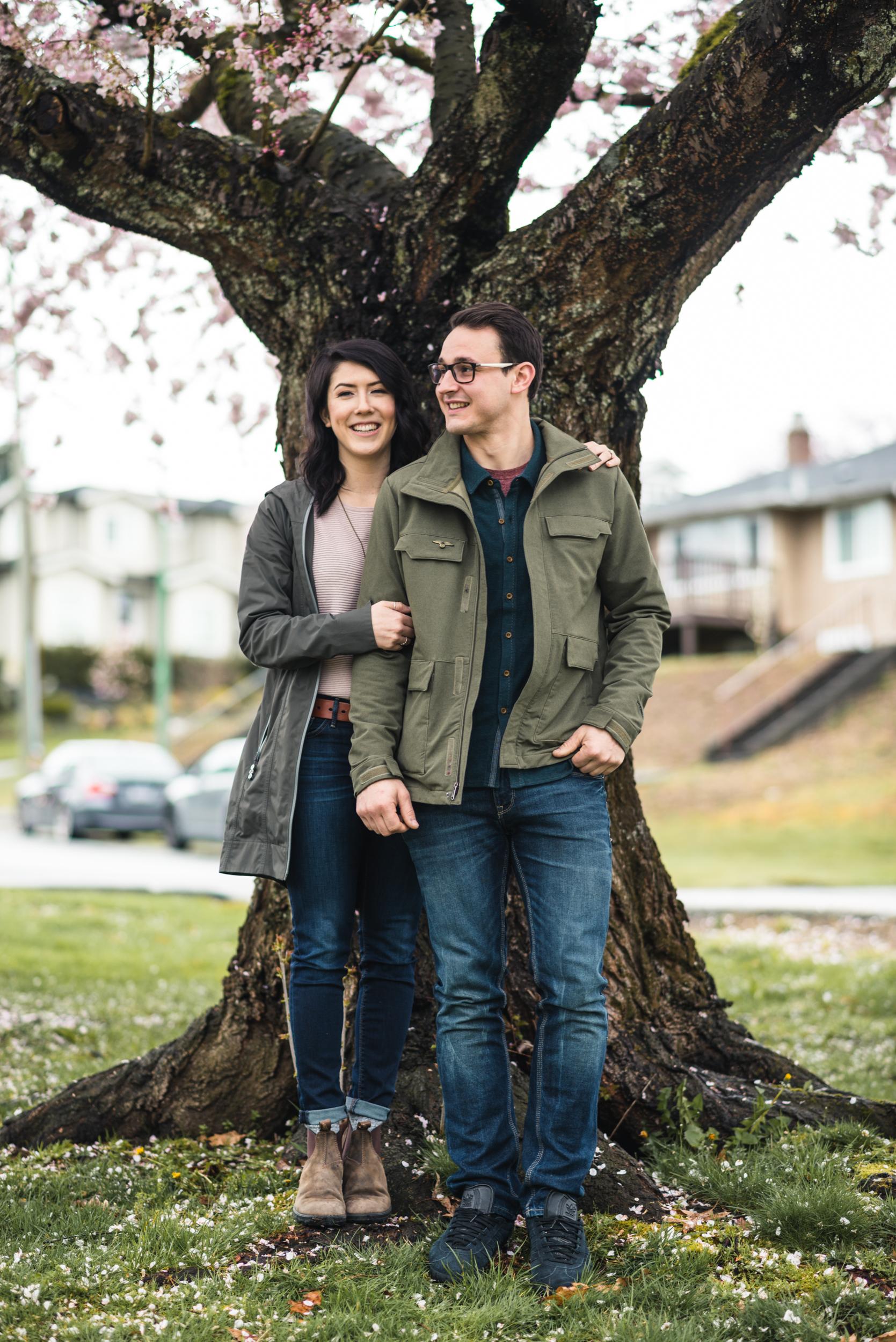 Couple under cherry tree
