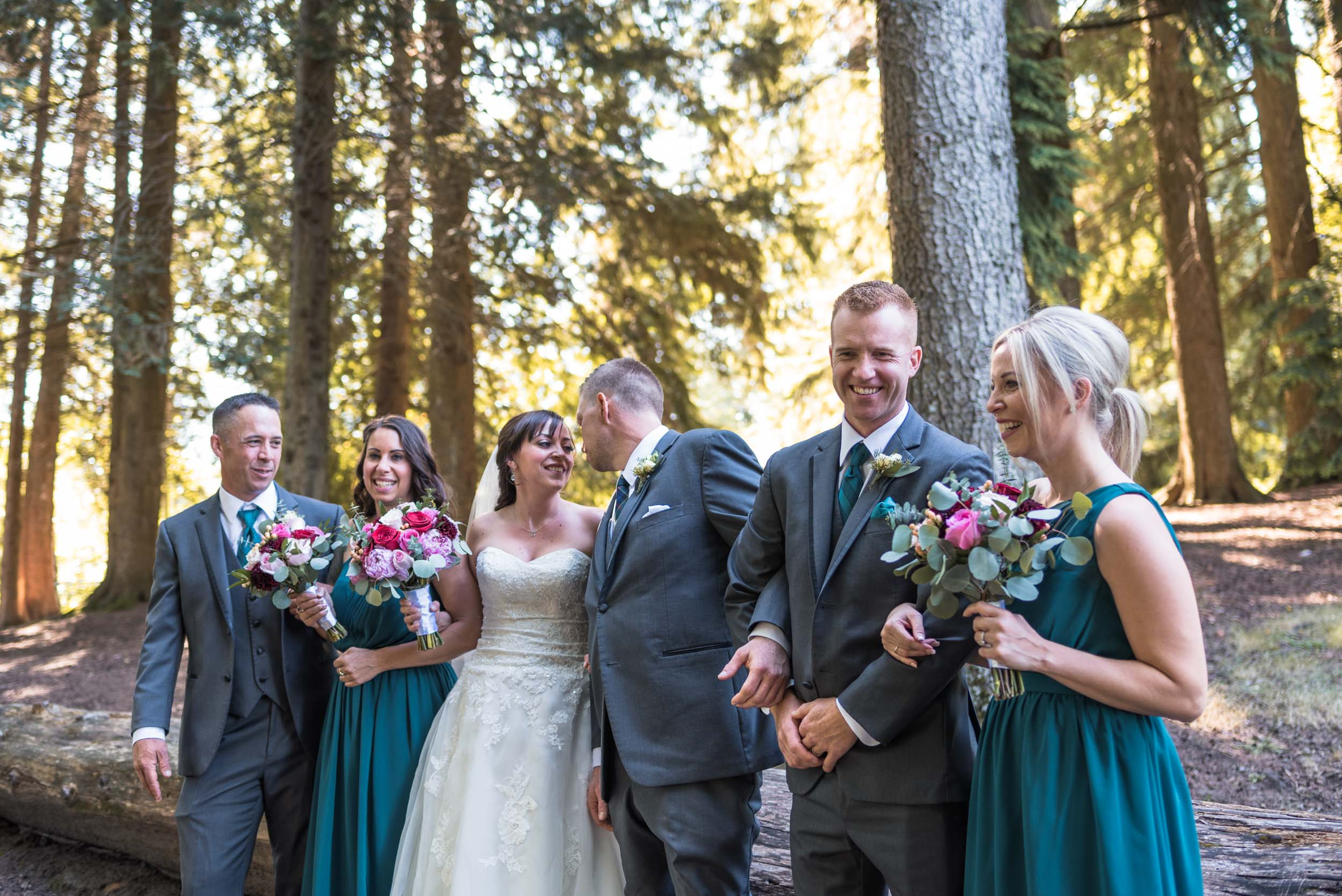 Bridal party in forest