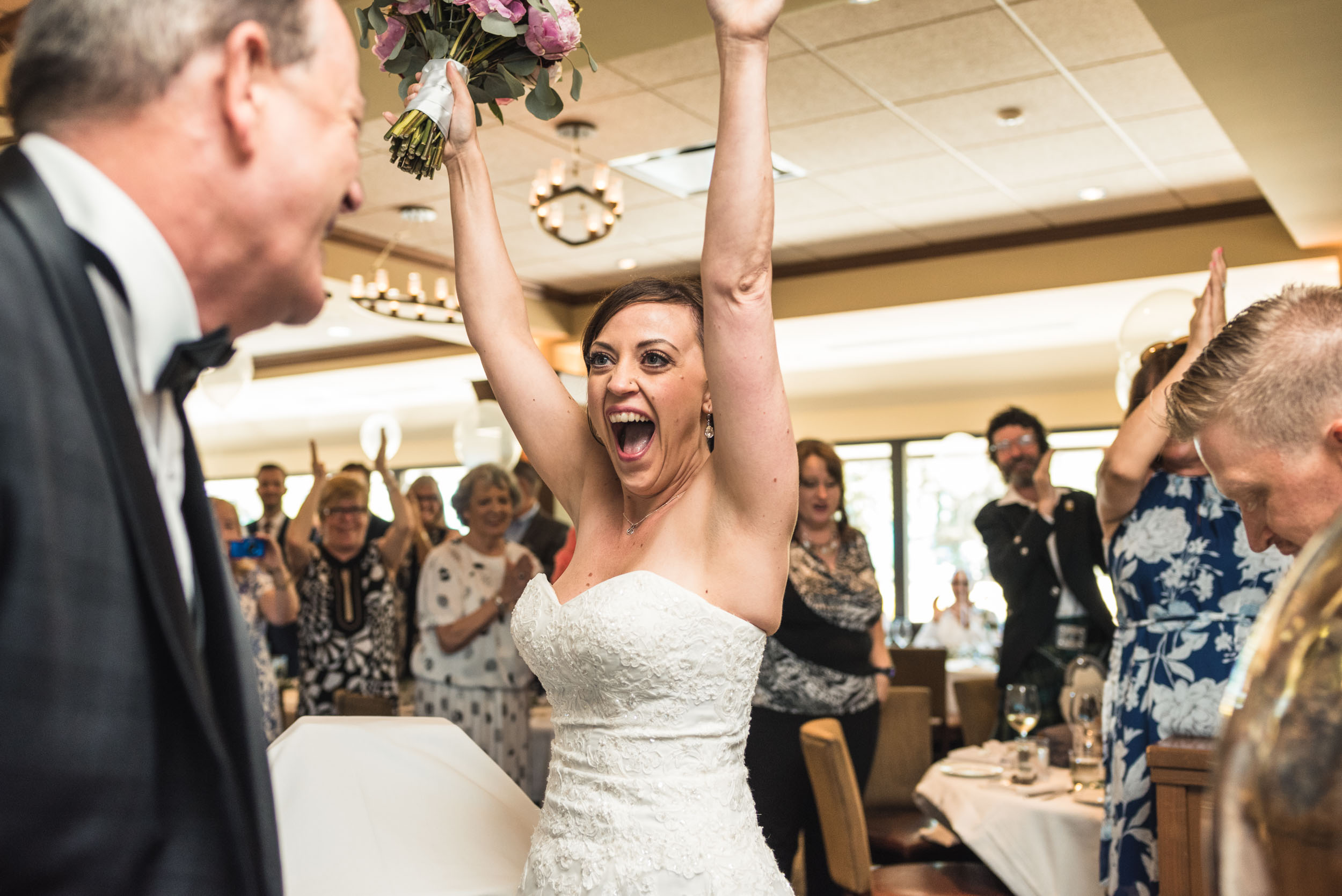Excited Bride during wedding reception