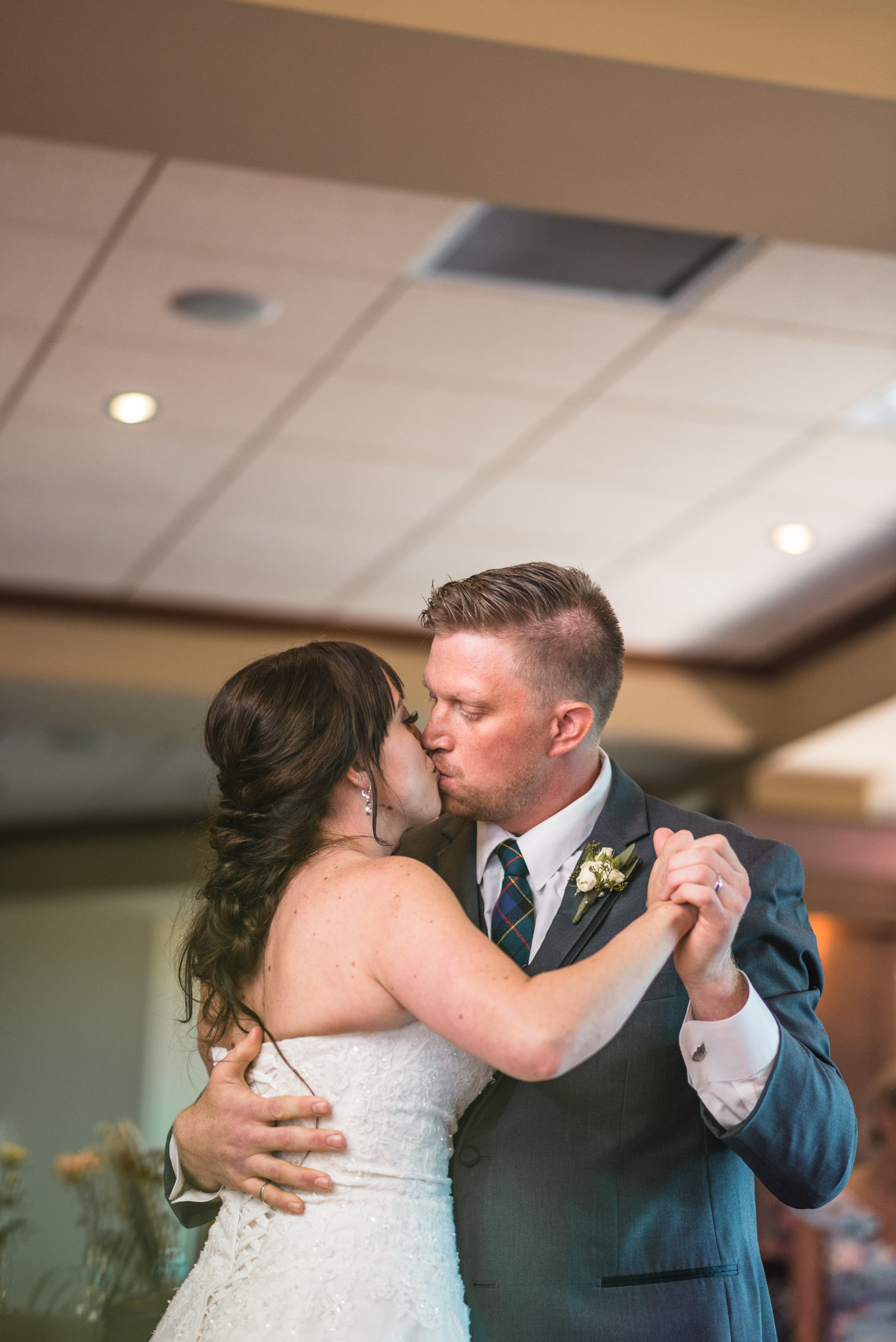 Bride and Groom first dance with kiss