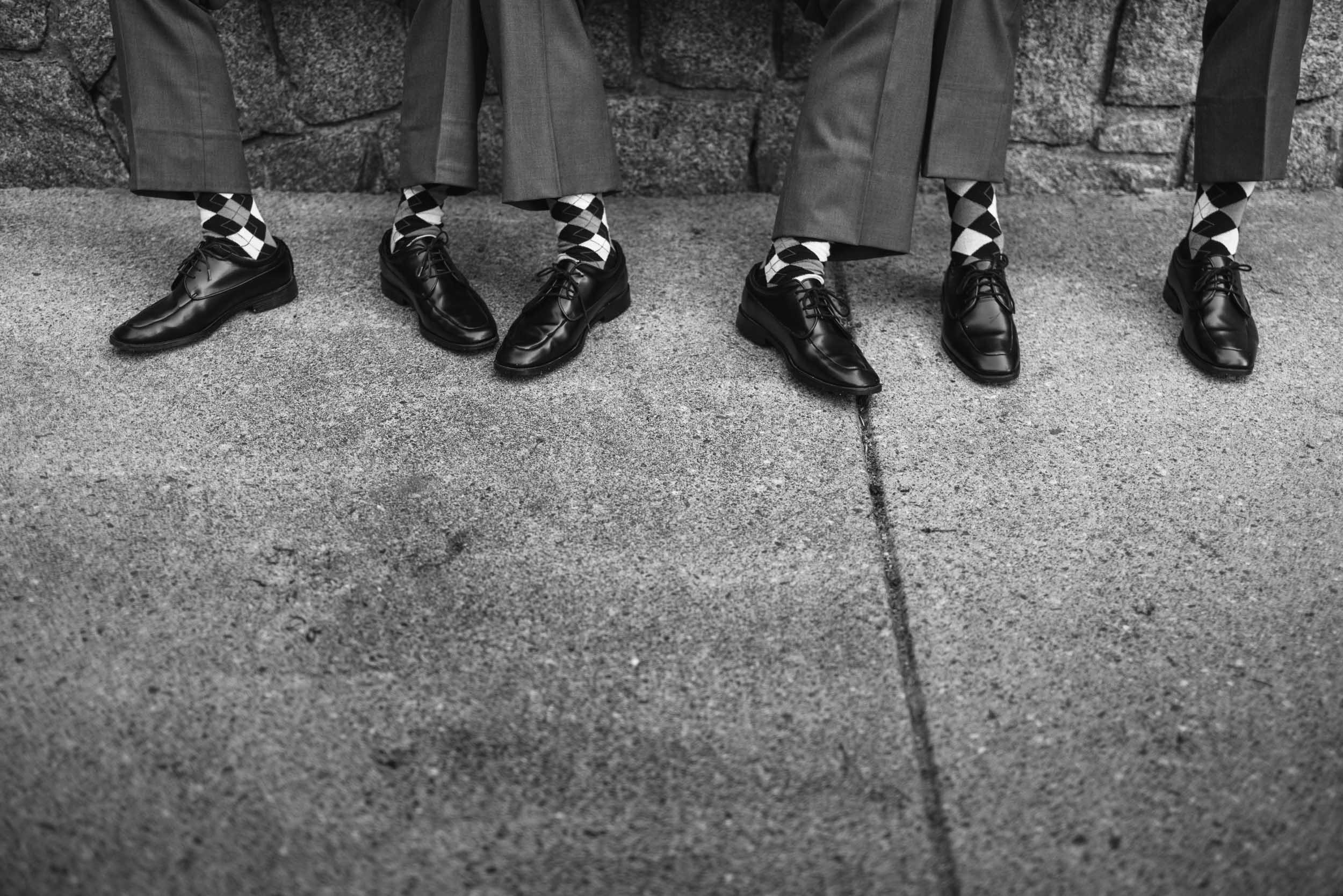 Groomsmen matching socks and shoes