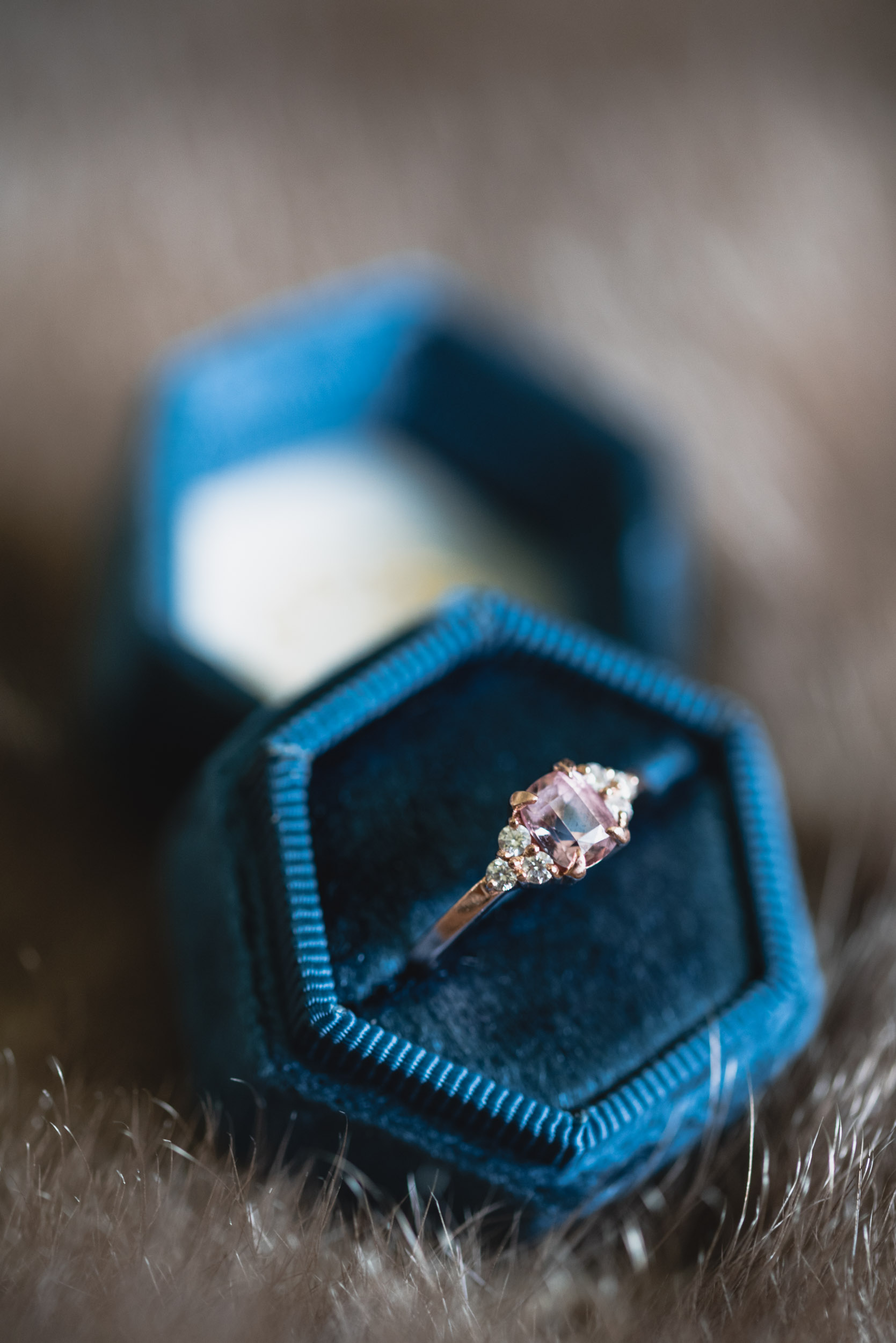 Blue velvet wedding ring box