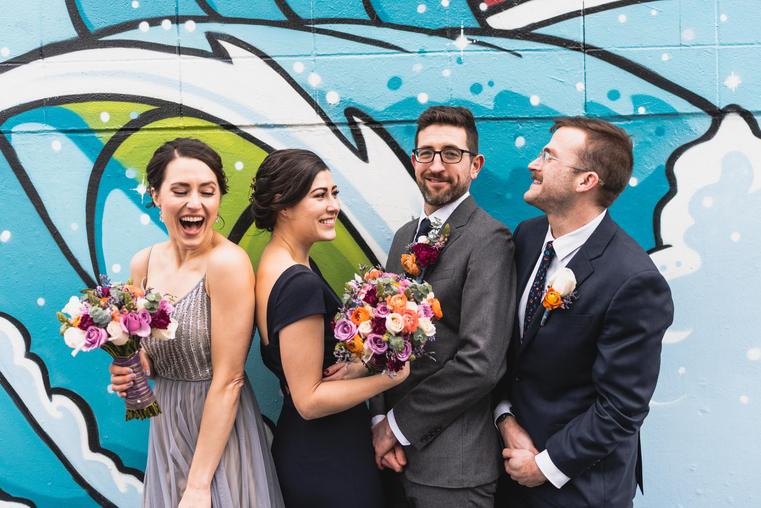 Bridal party at mural